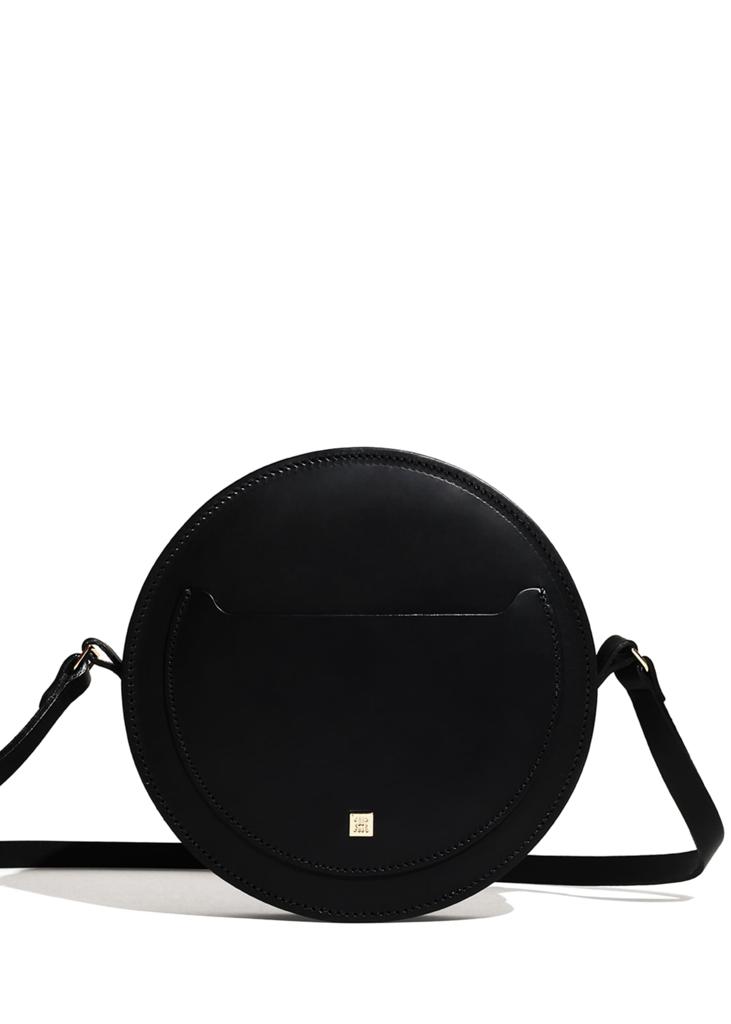 Image 2 of 4: Hope Leather Circle Shoulder Bag, Black