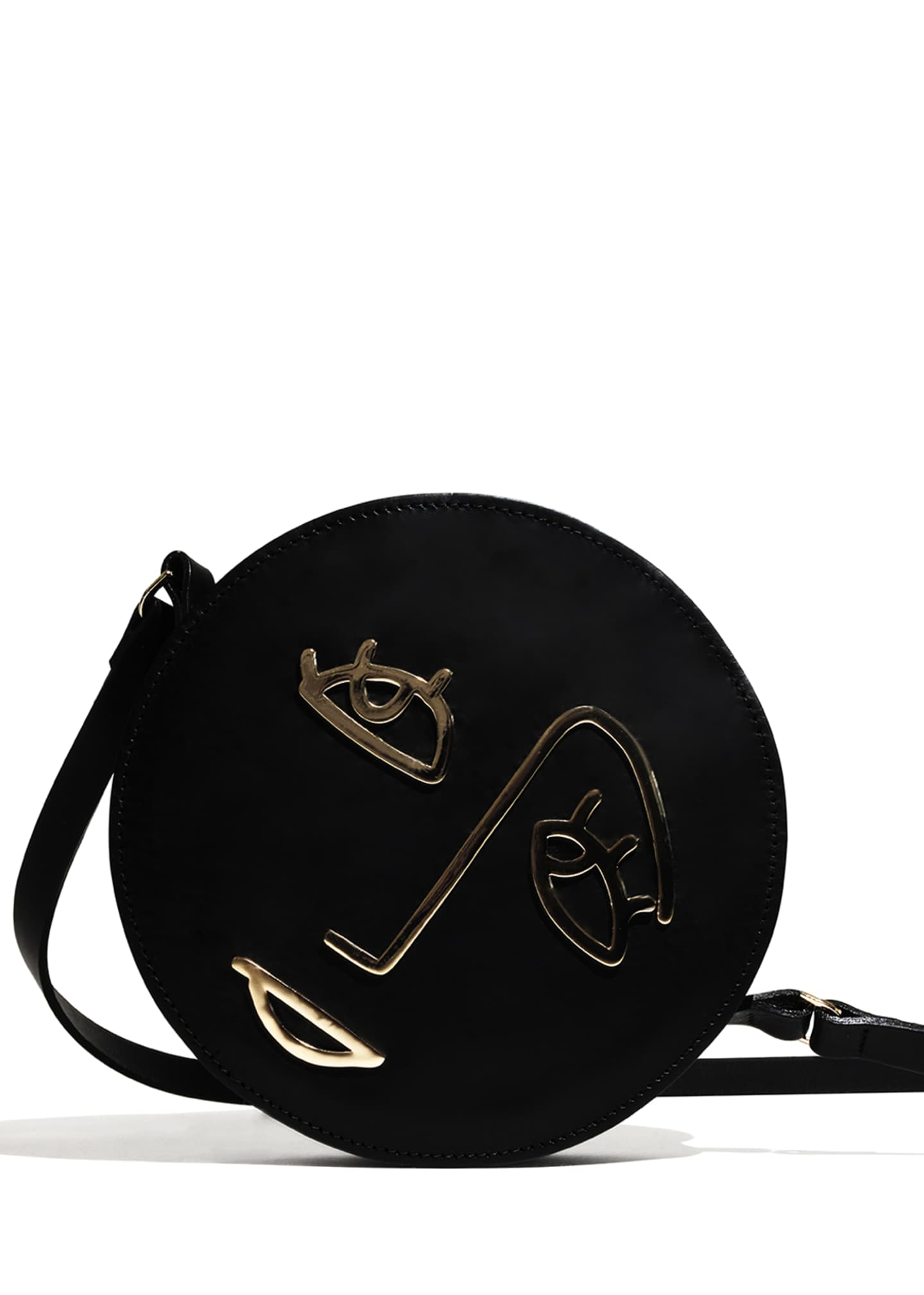 Image 3 of 4: Hope Leather Circle Shoulder Bag, Black