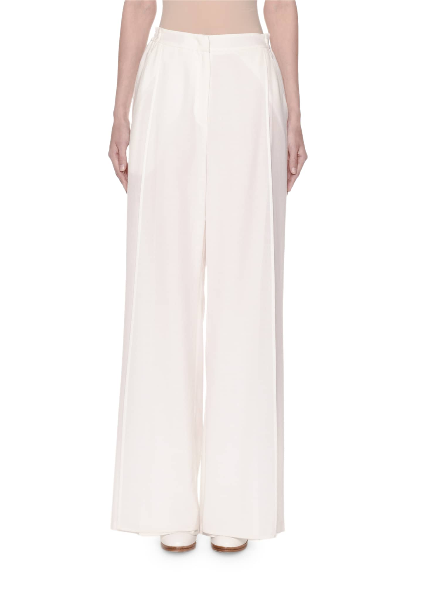 Image 1 of 3: Wide-Leg Layered Voile Pants