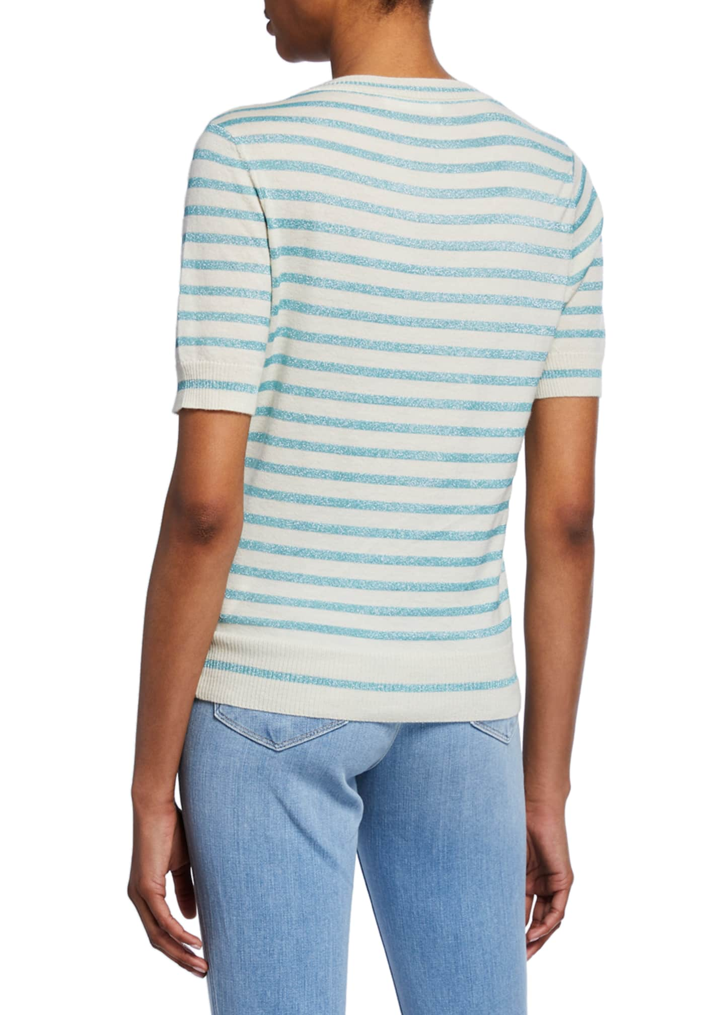 Image 2 of 2: Metallic Stripe Crewneck Short-Sleeve Top