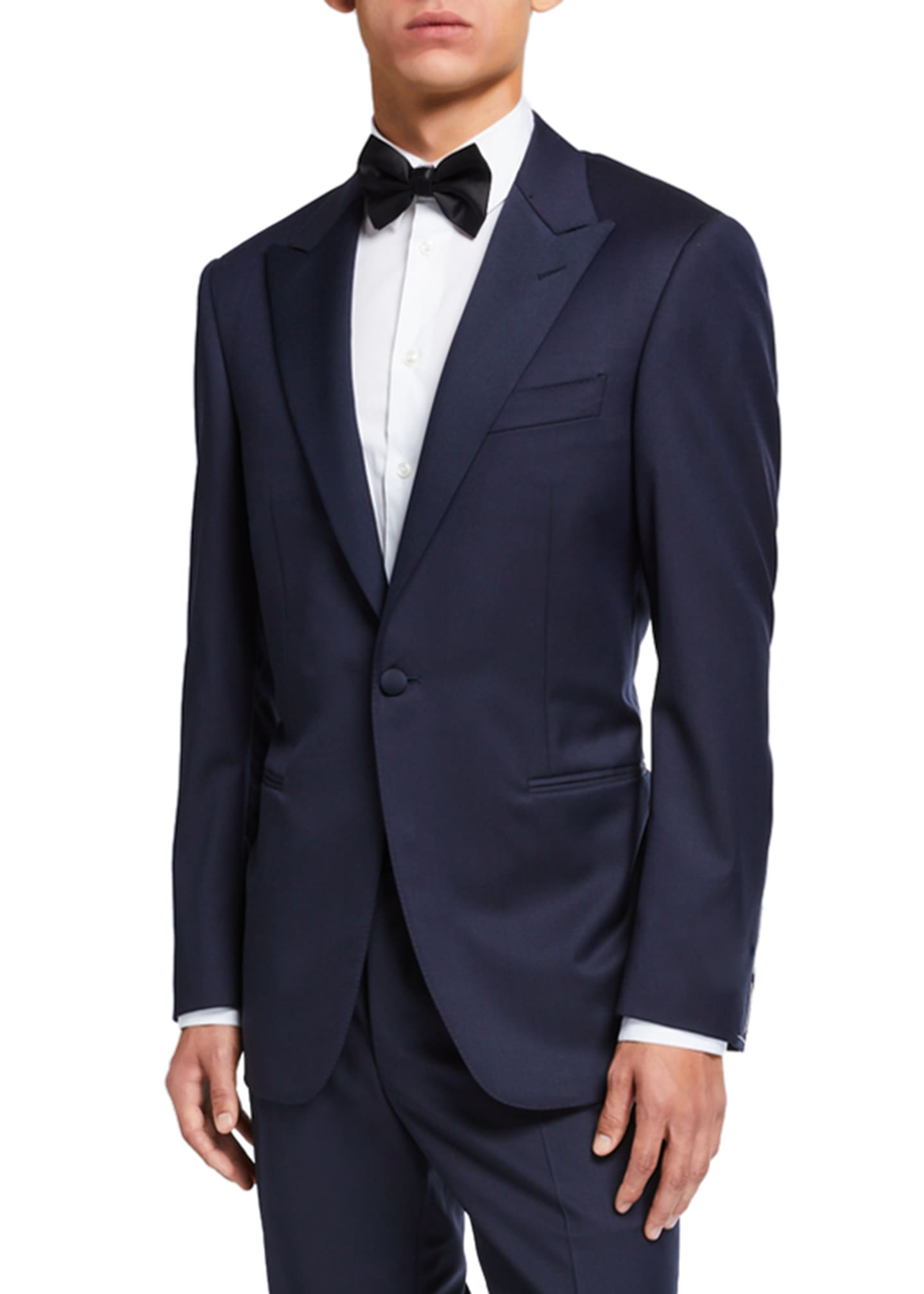 Image 2 of 4: Wool Two-Piece Tuxedo Suit with Satin Peak Lapel