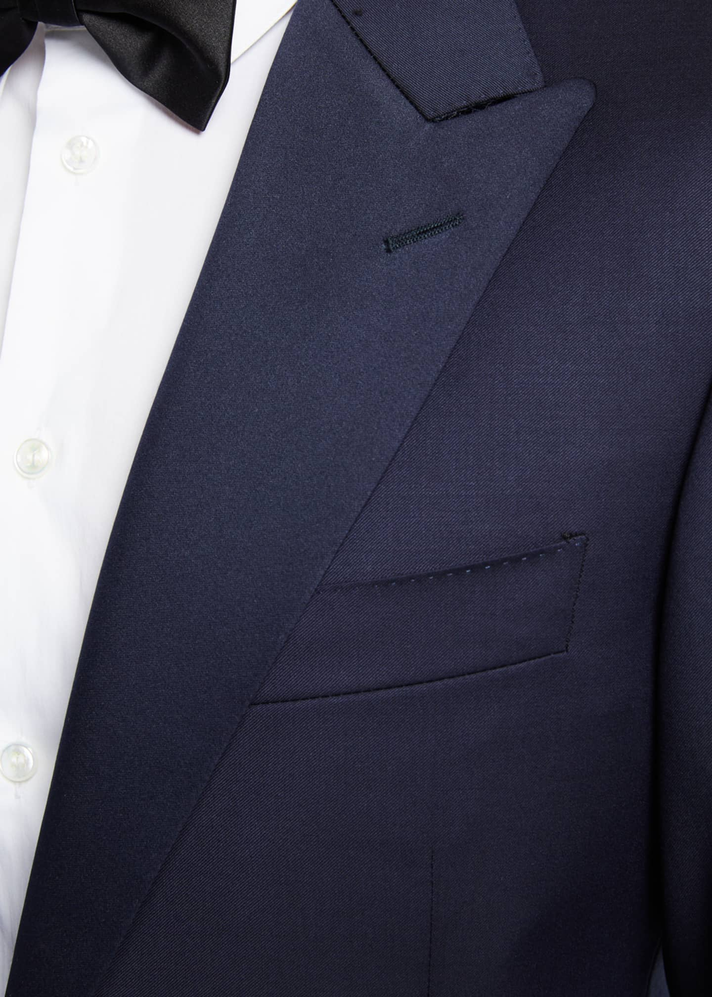 Image 4 of 4: Wool Two-Piece Tuxedo Suit with Satin Peak Lapel