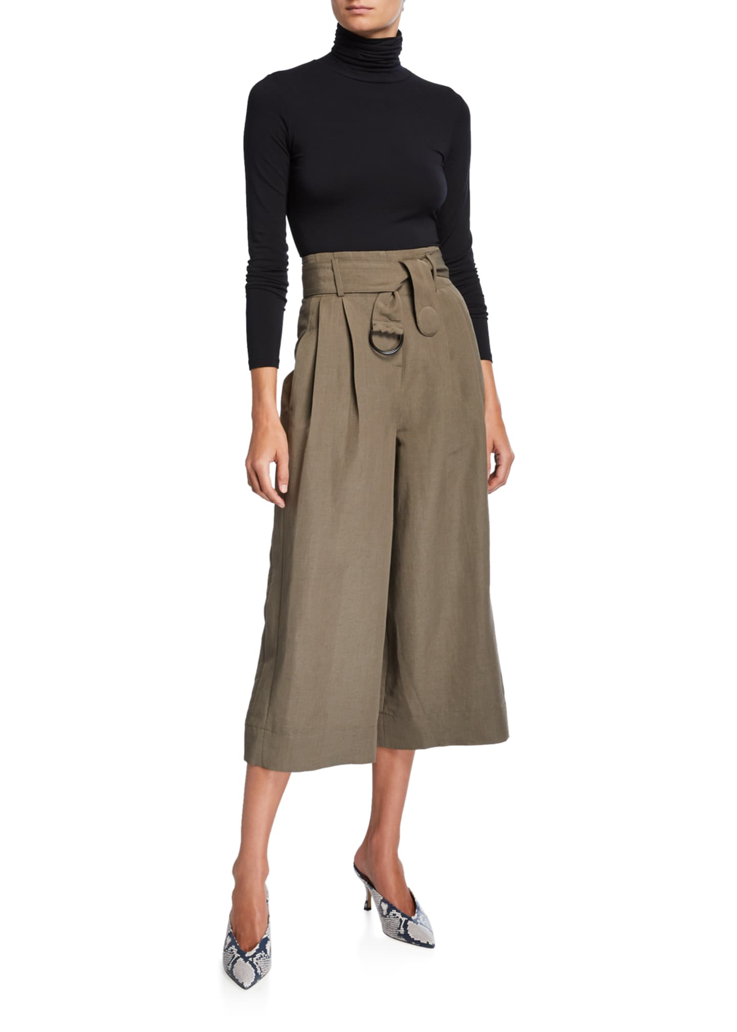 Image 3 of 3: Fiorella Cropped Wide-Leg Pants