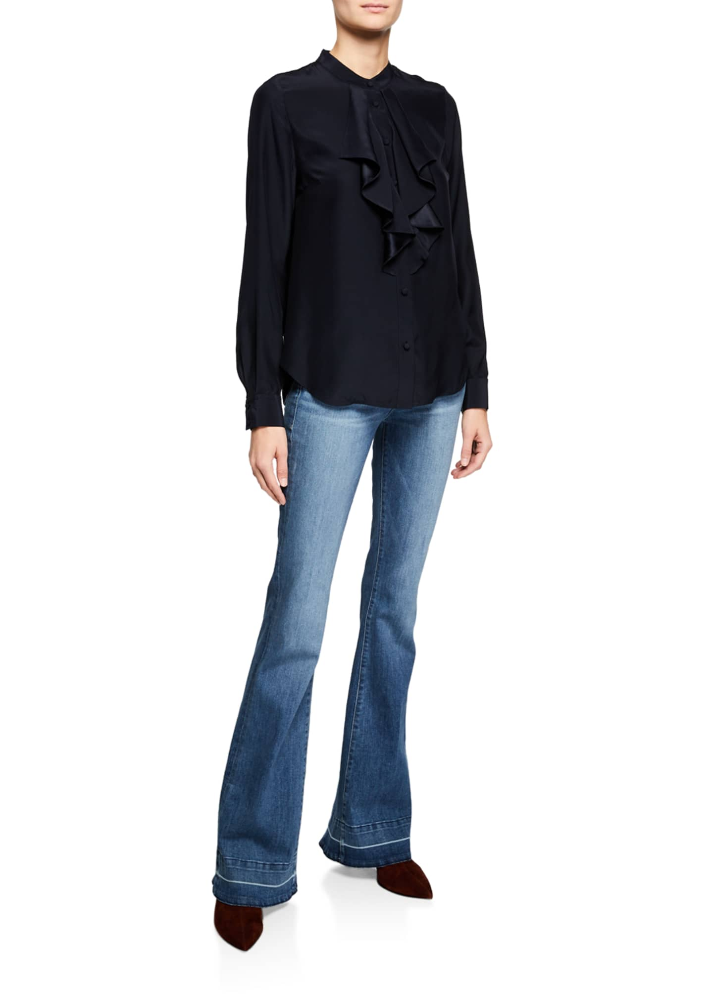 Image 3 of 3: Le High Flare Wide-Leg Jeans w/ Released Hem