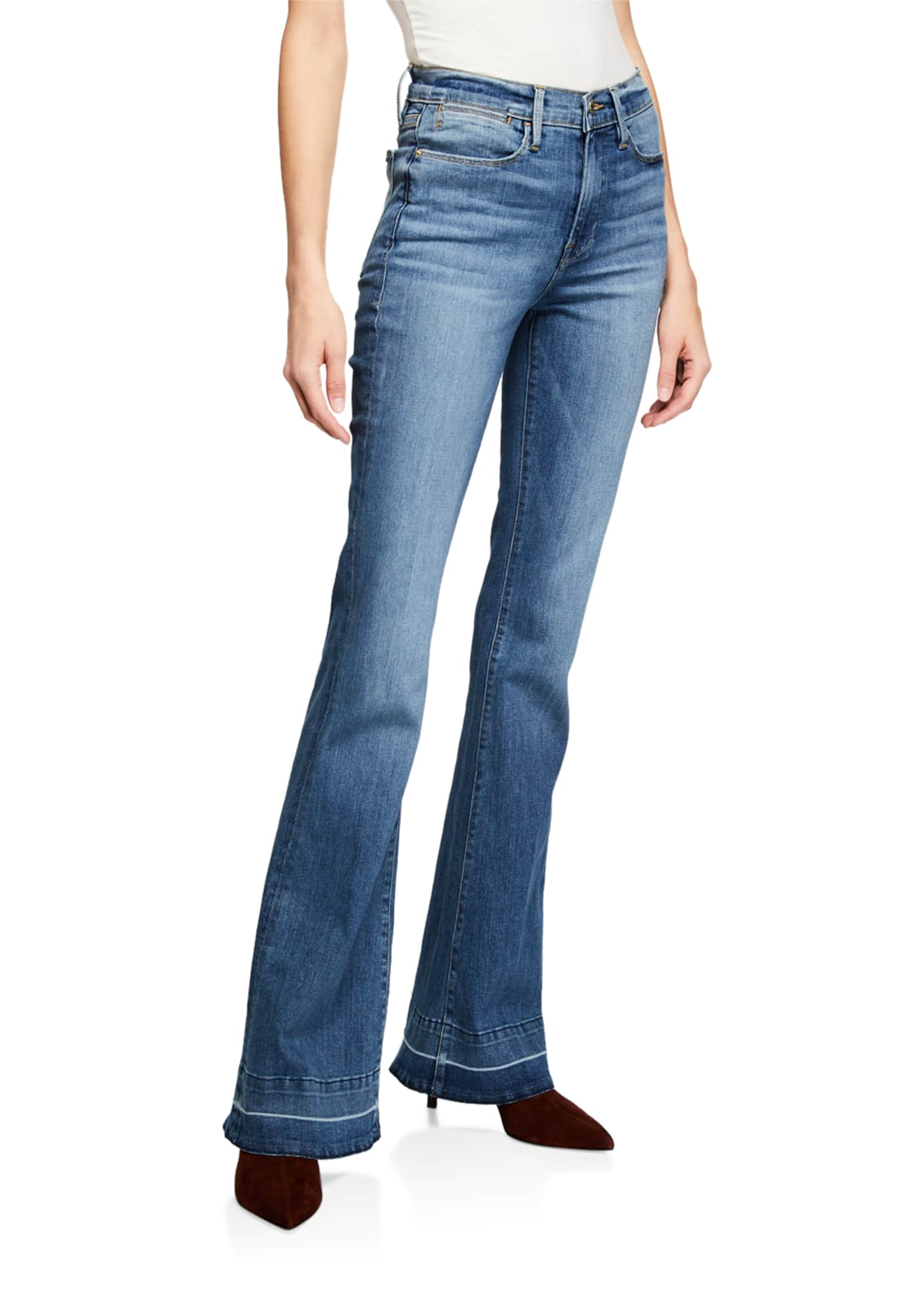 Image 1 of 3: Le High Flare Wide-Leg Jeans w/ Released Hem