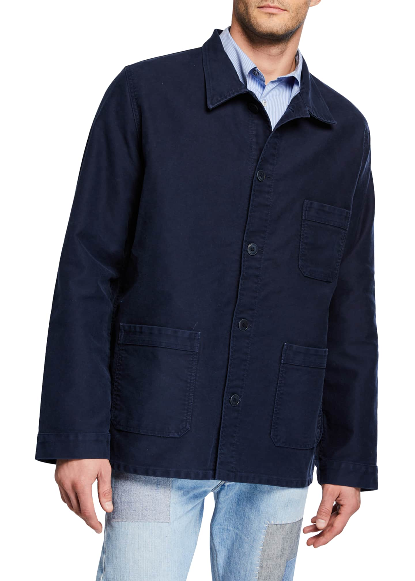 Image 2 of 4: Men's Stone-Washed French Worker Jacket
