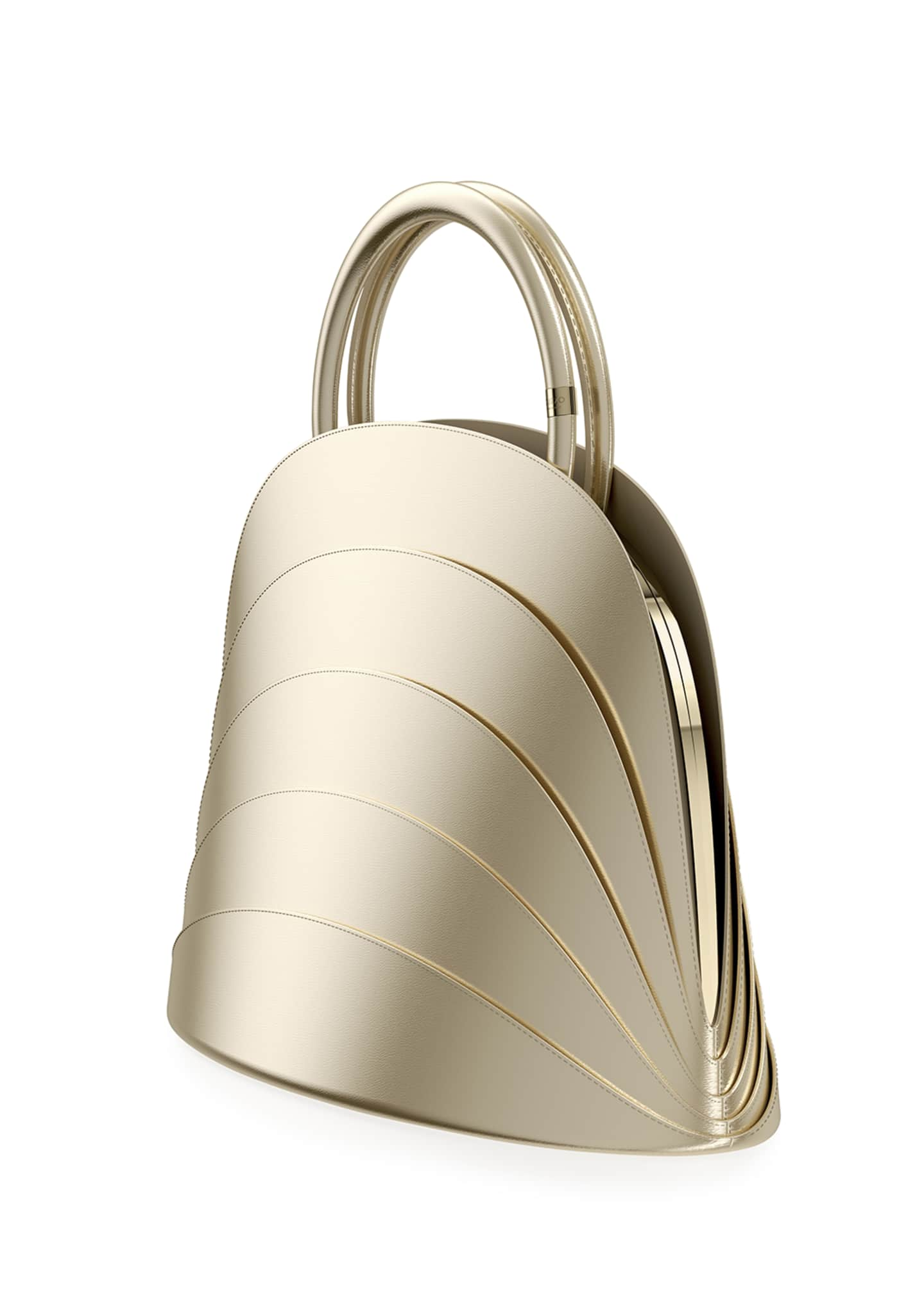Image 2 of 3: Millefoglie J Layered Top Handle Bag, Gold