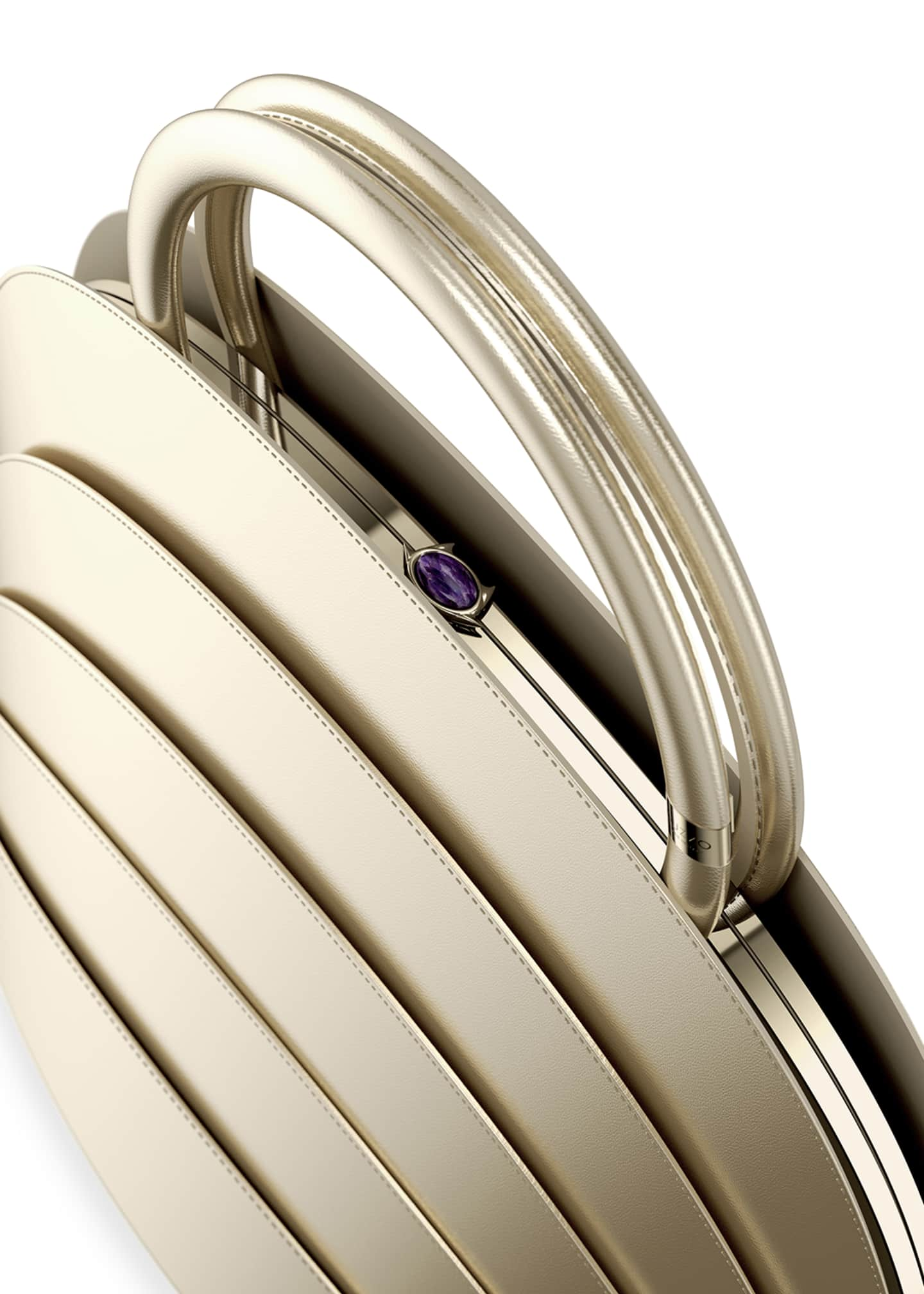 Image 3 of 3: Millefoglie J Layered Top Handle Bag, Gold