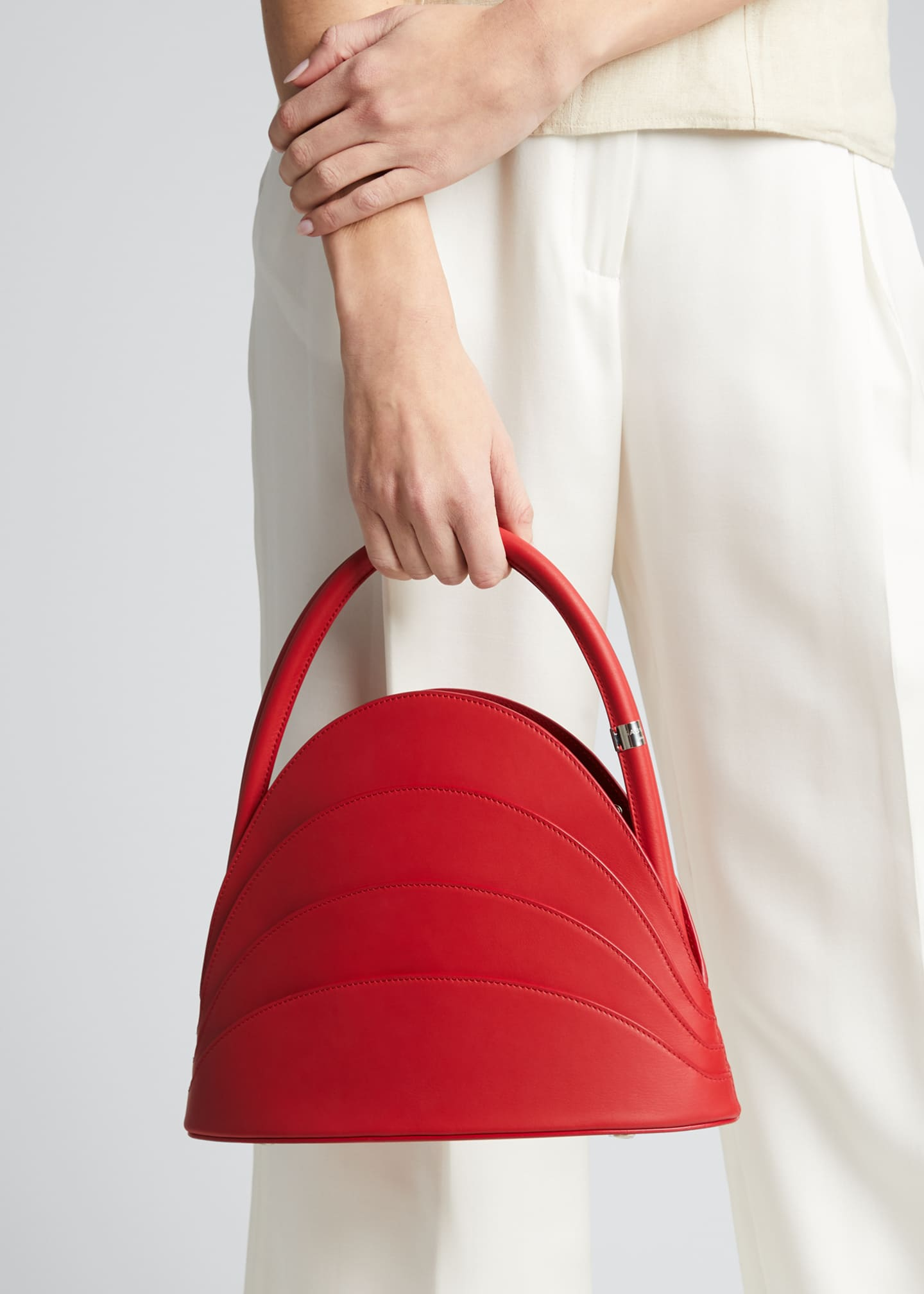 Image 2 of 5: Millefoglie Layered Top-Handle Bag, Red
