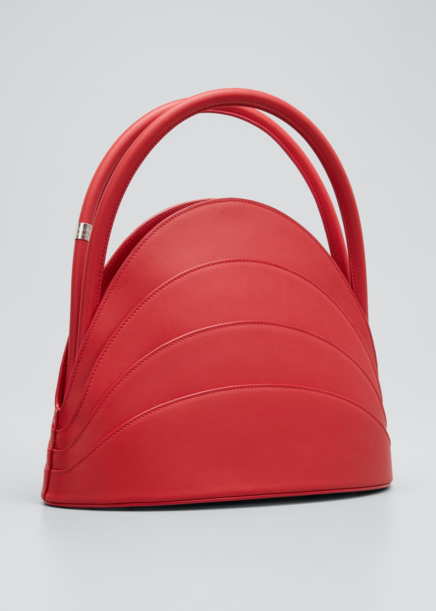 Image 3 of 5: Millefoglie Layered Top-Handle Bag, Red