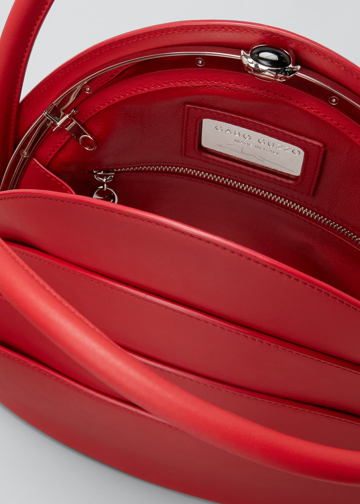 Image 4 of 5: Millefoglie Layered Top-Handle Bag, Red