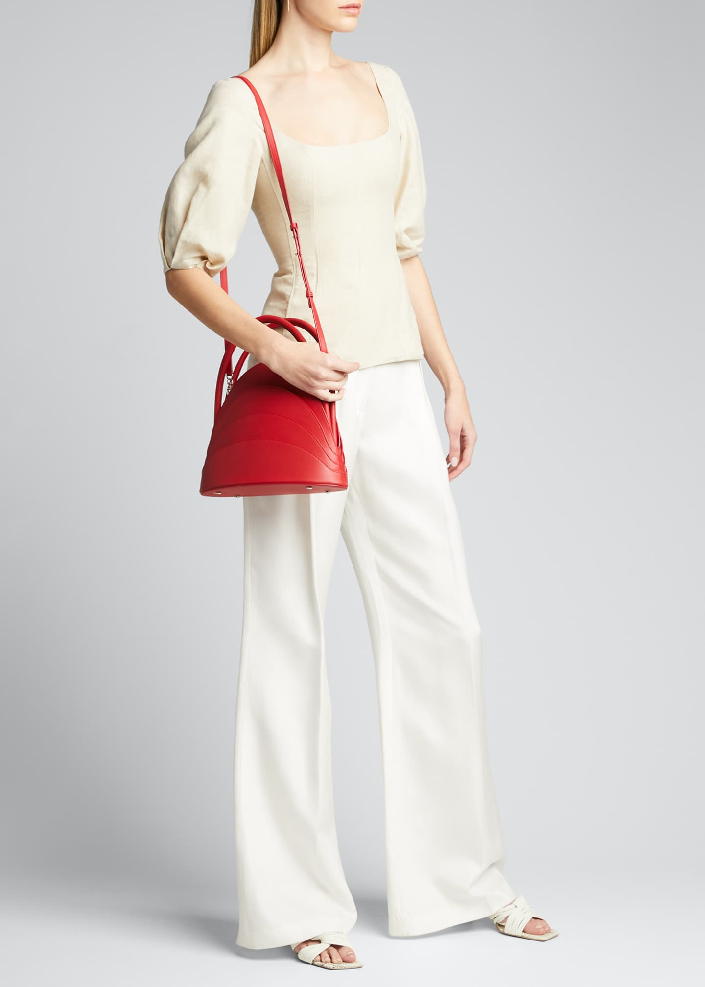 Image 5 of 5: Millefoglie Layered Top-Handle Bag, Red