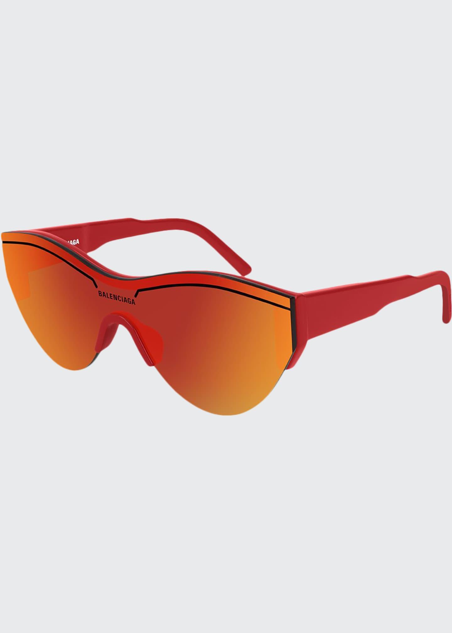 Balenciaga Men's Half-Rimmed Acetate Sunglasses