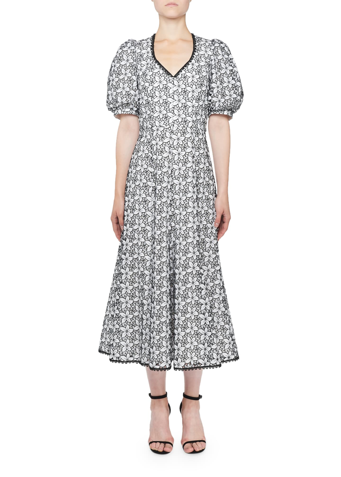 Andrew Gn V-Neck Floral-Eyelet Dress