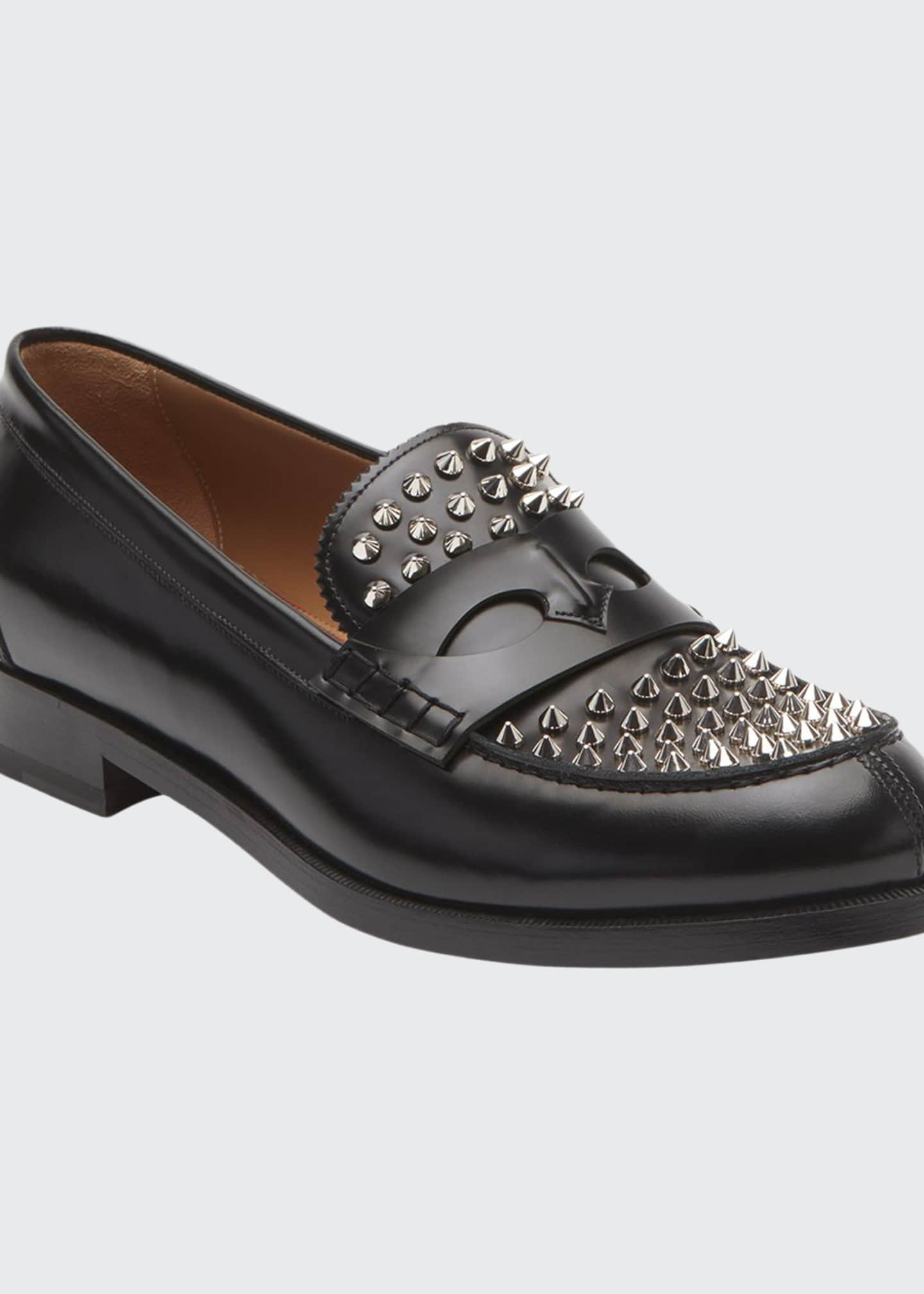 Christian Louboutin Men's Spiked Leather Penny Loafers
