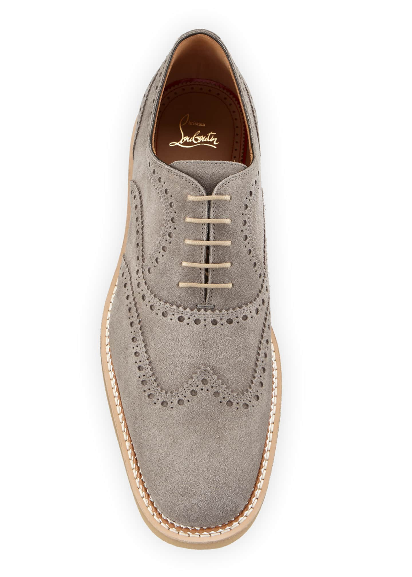 Image 2 of 4: Men's Charlie Crepe-Sole Suede Wing-Tip Oxford Shoes