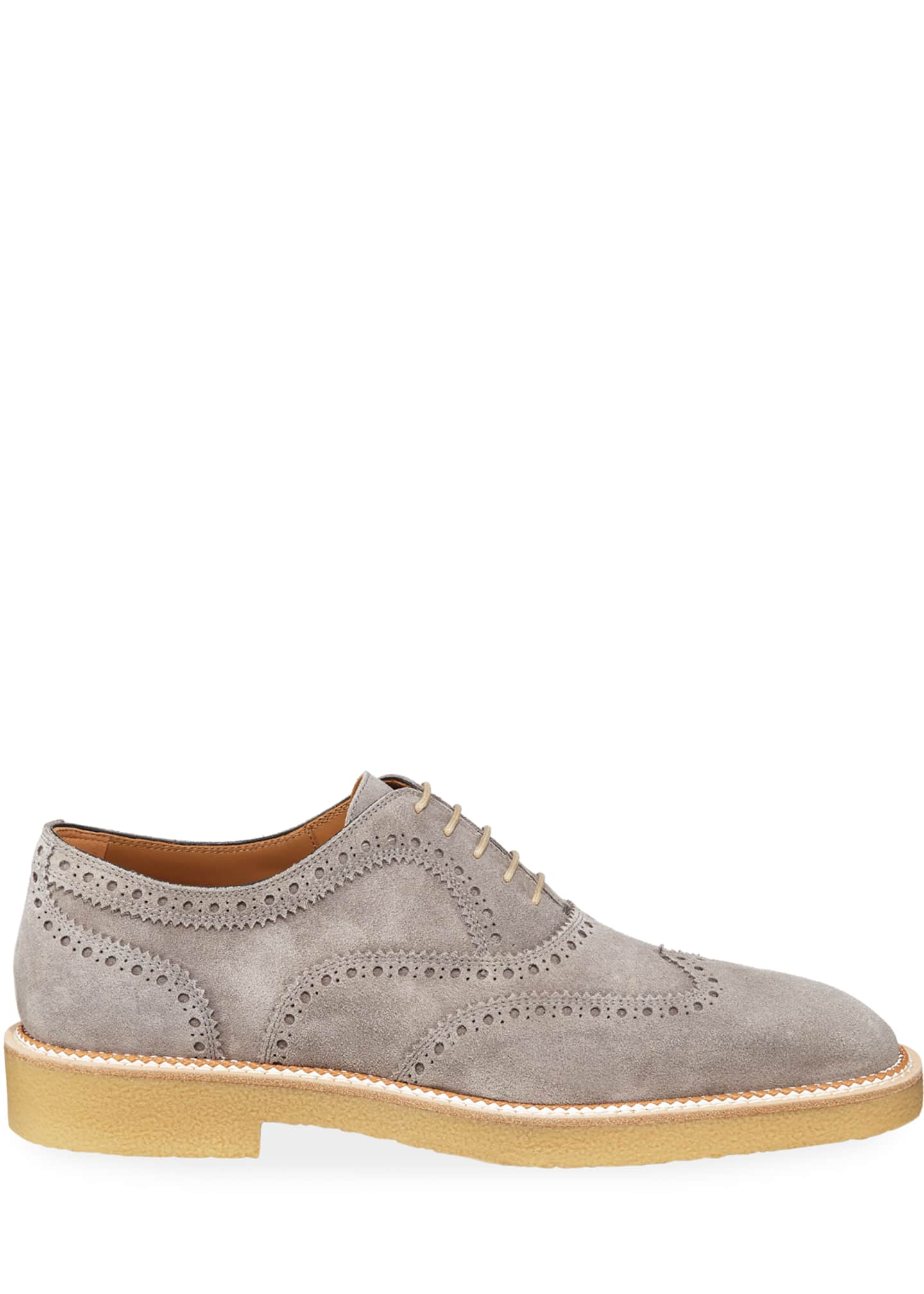 Image 3 of 4: Men's Charlie Crepe-Sole Suede Wing-Tip Oxford Shoes