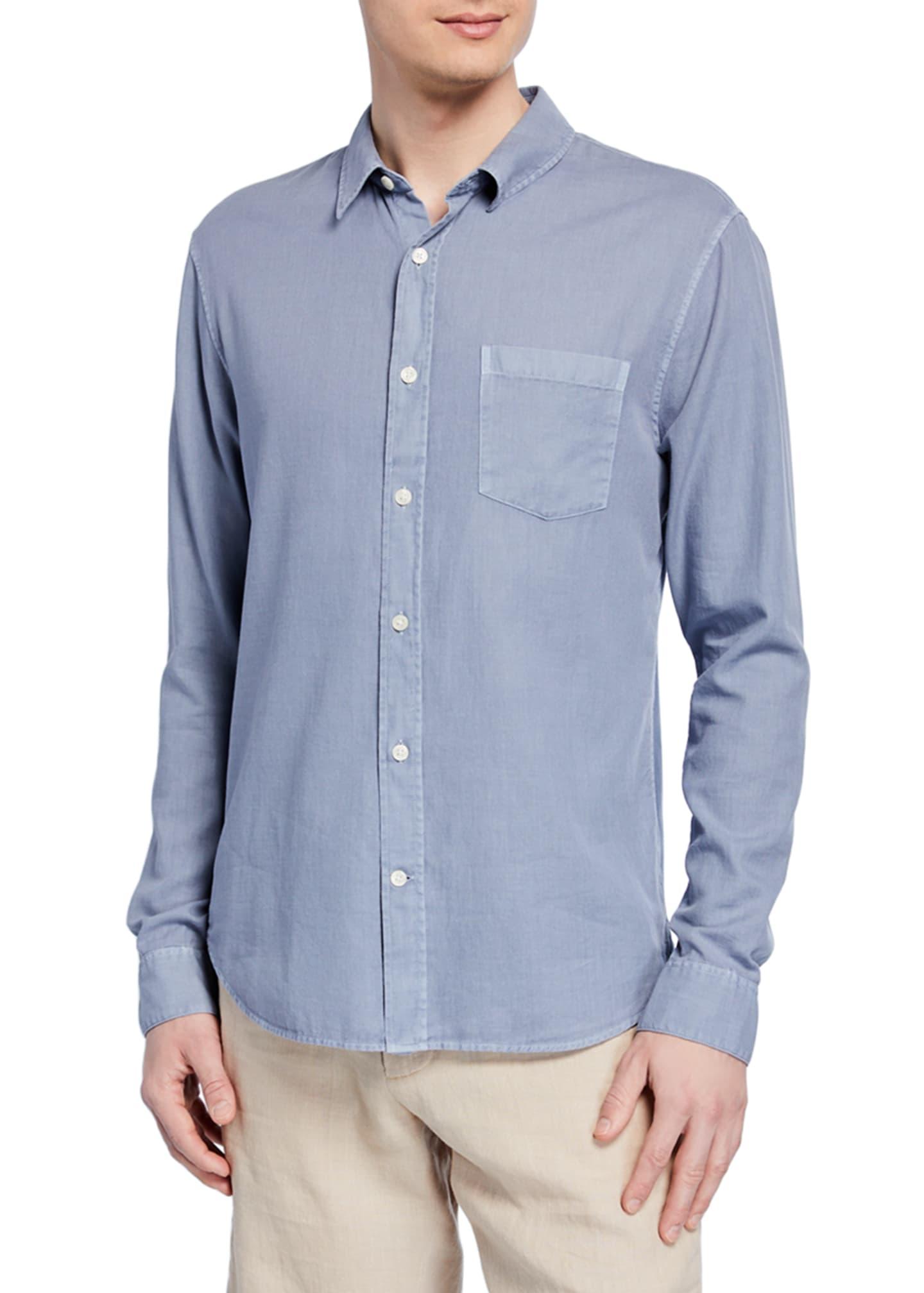 Vince Men's Garment Dye Long-Sleeve Cotton Sport Shirt