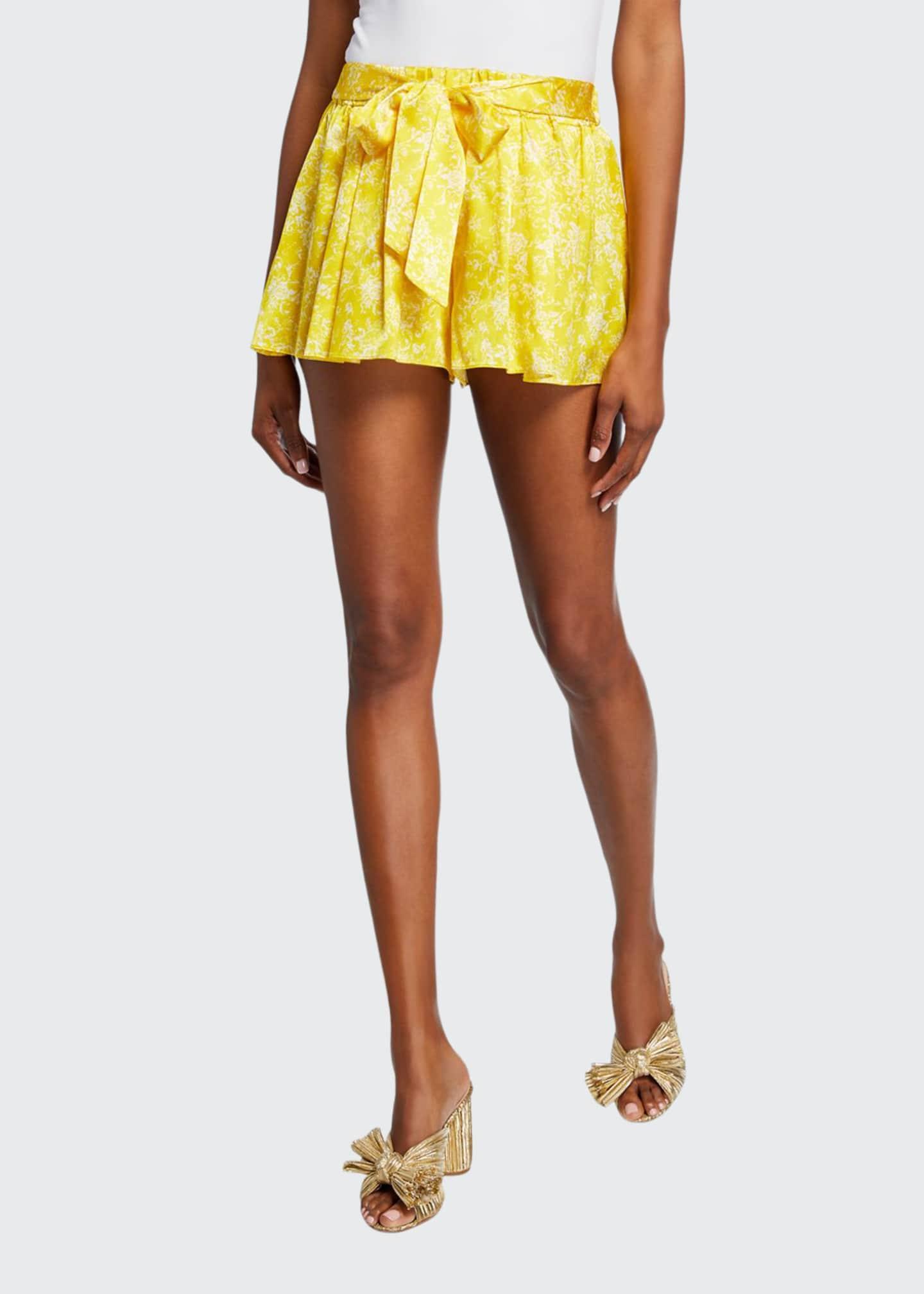 Caroline Constas Printed Tie-Front Stretch-Silk Pleated Shorts