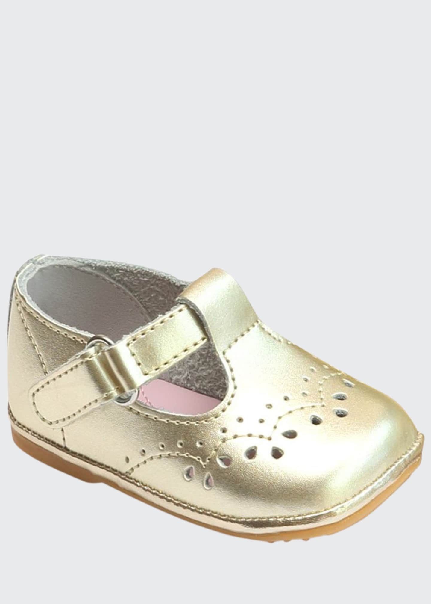 L'Amour Shoes Birdie Metallic Leather T-Strap Brogue Mary