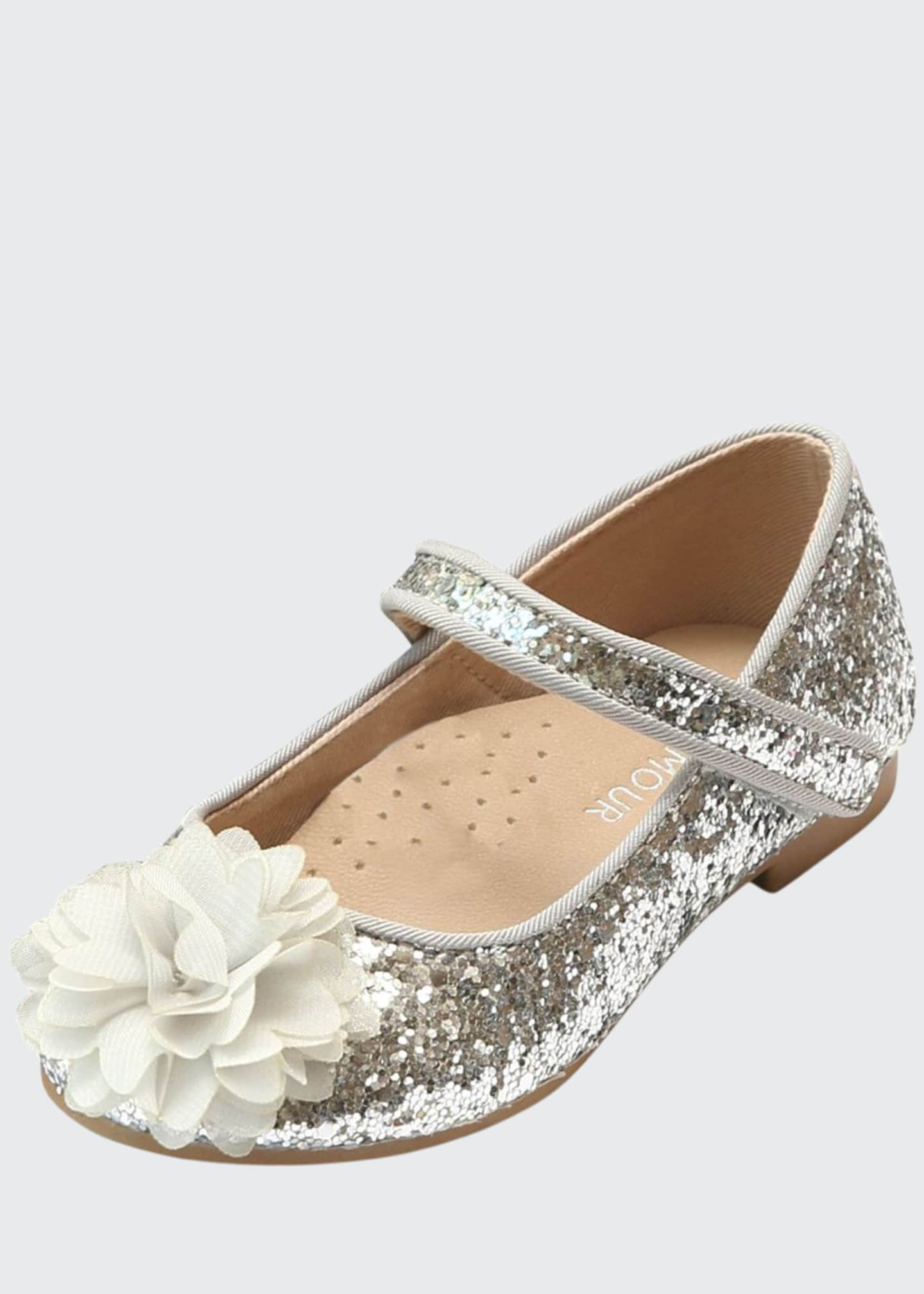 L'Amour Shoes Alice Sparkly Glitter Flower Flats,
