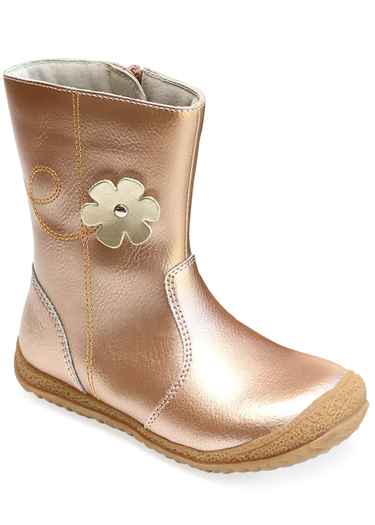 L'Amour Shoes Madison Metallic Leather Flower Mid-Top Boot,