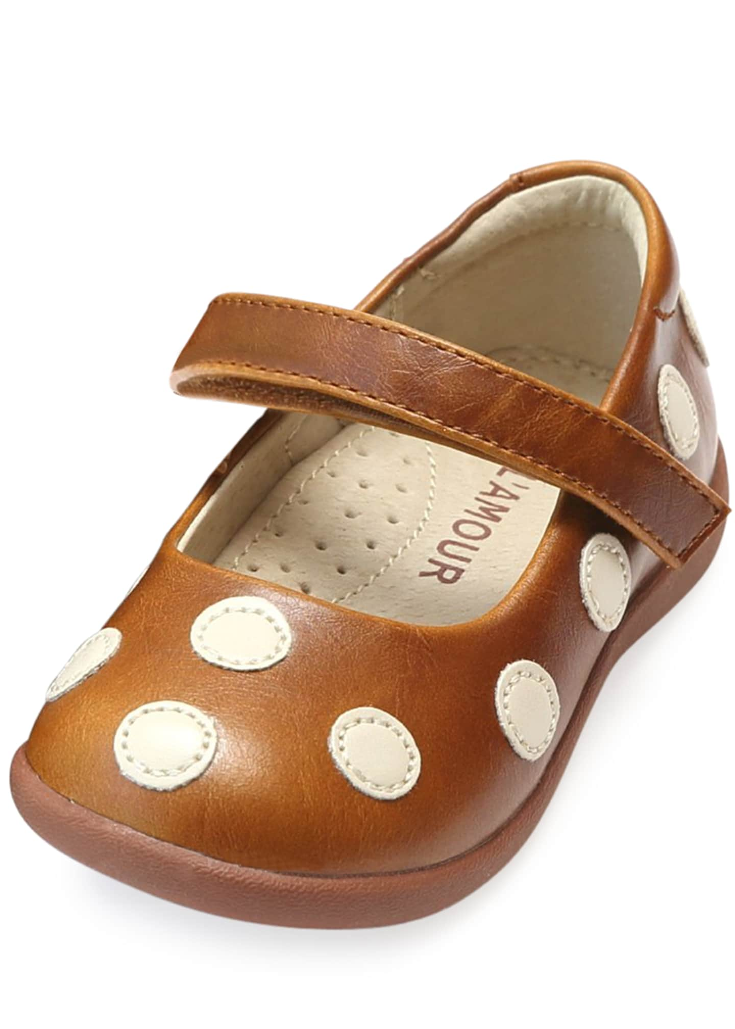 L'Amour Shoes Mara Polka-Dot Leather Mary Jane, Size