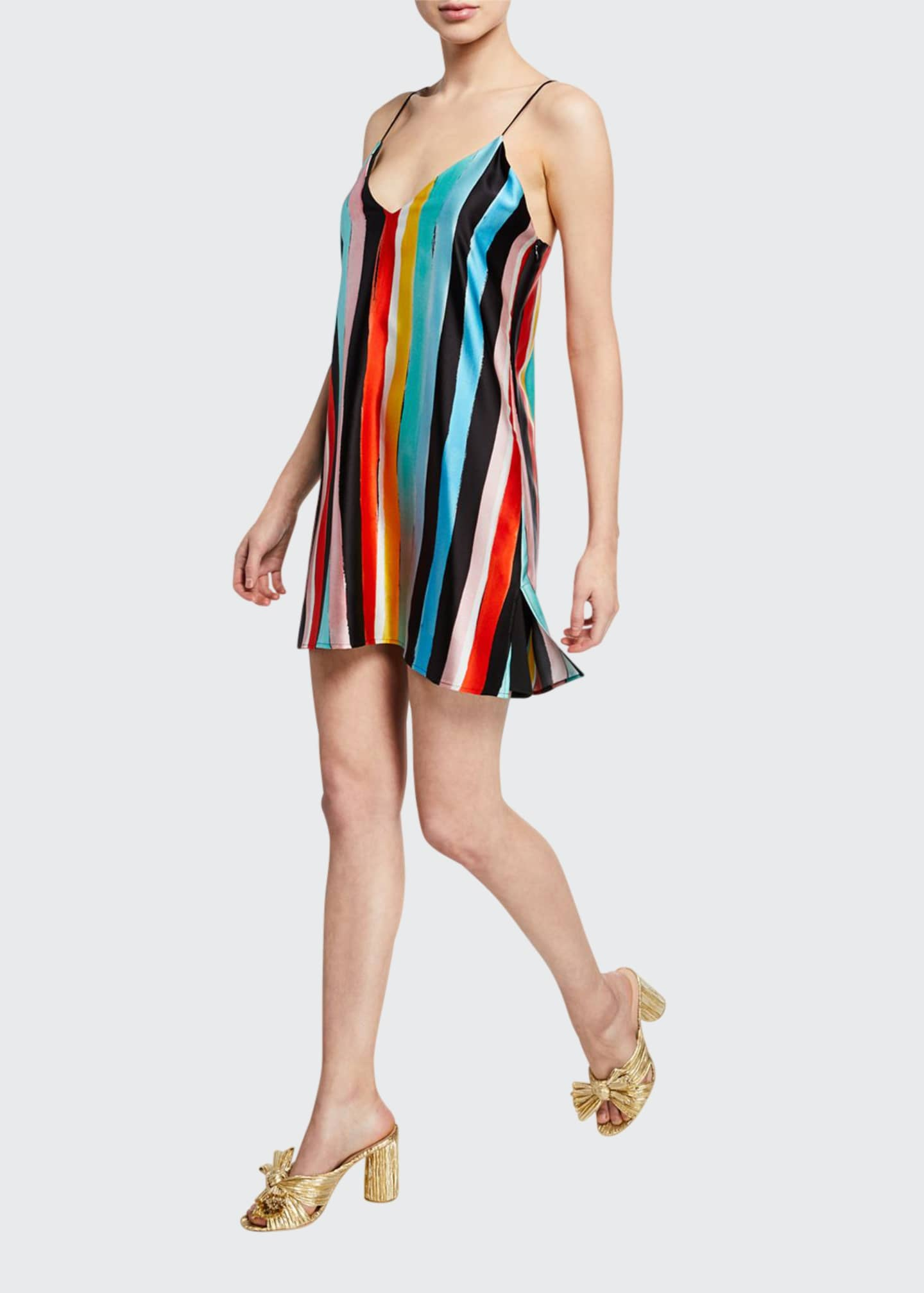 Caroline Constas Elena Striped Charmeuse Slip Dress
