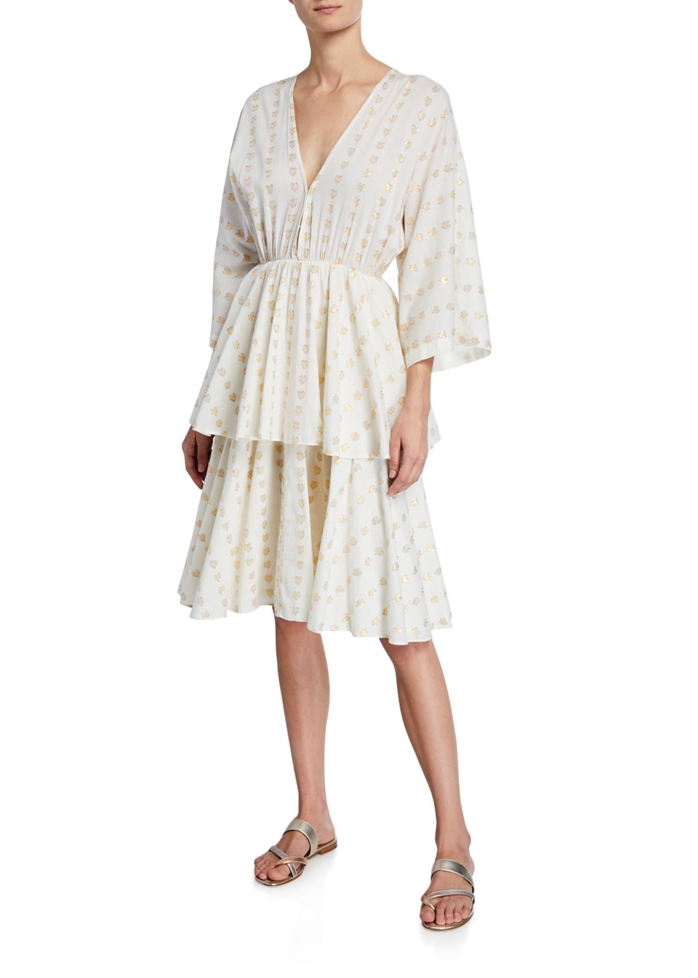 Rhode Bella Heart V-Neck 3/4-Sleeve Tiered Cotton Dress