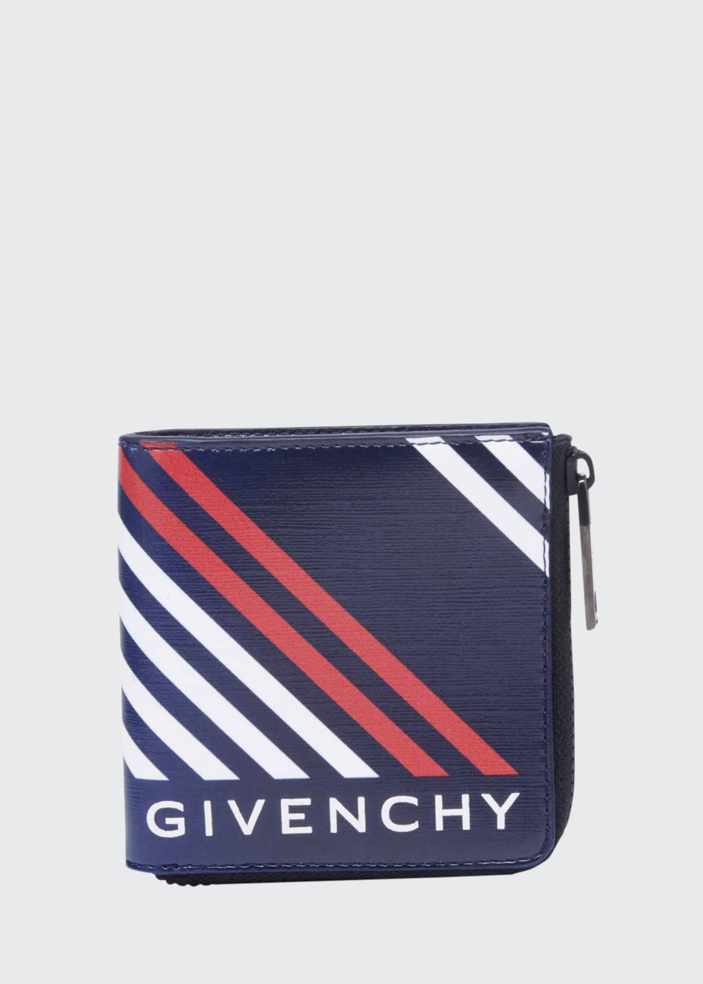 Givenchy Men's Lines-Print Canvas Zip Wallet