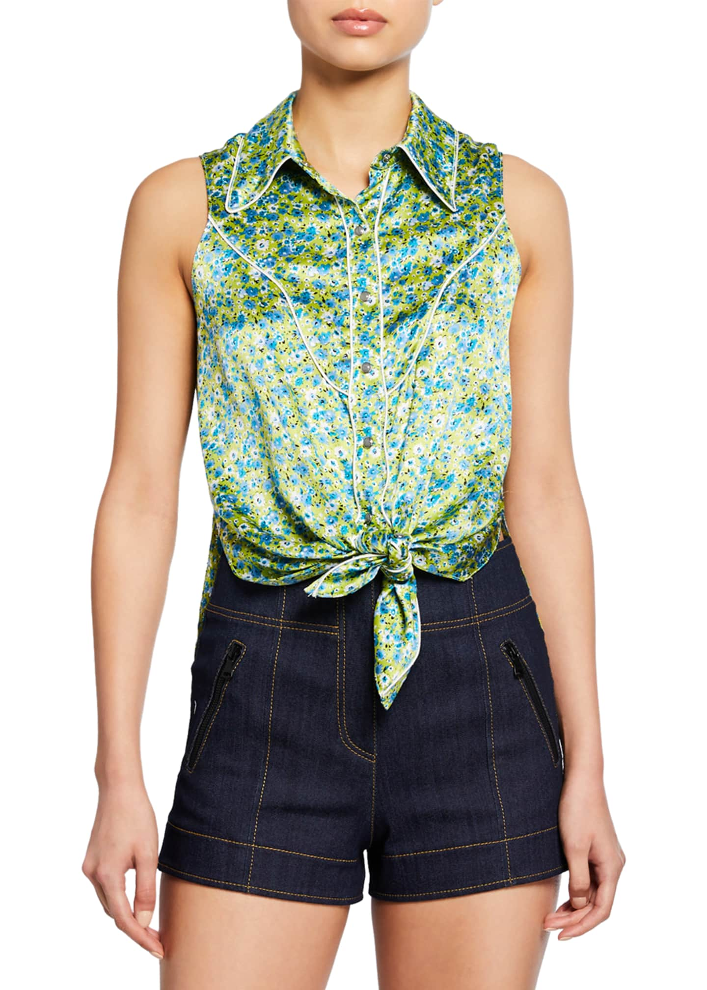 cinq a sept Leon Floral Tie-Front Sleeveless Top