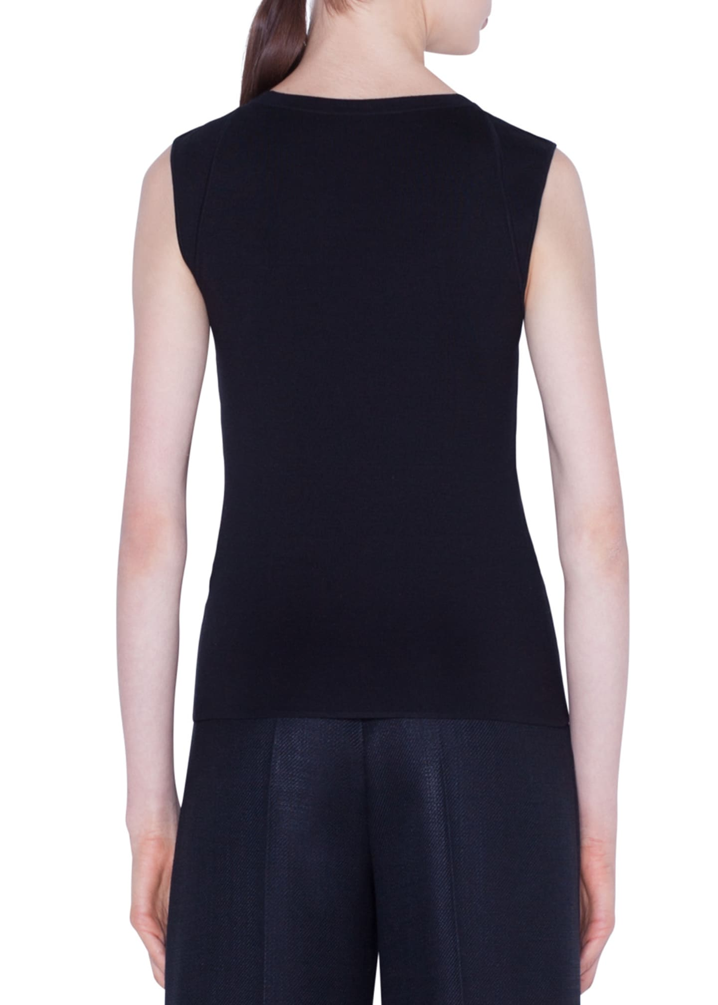 Image 2 of 2: Stretch Silk Sleeveless Sweater