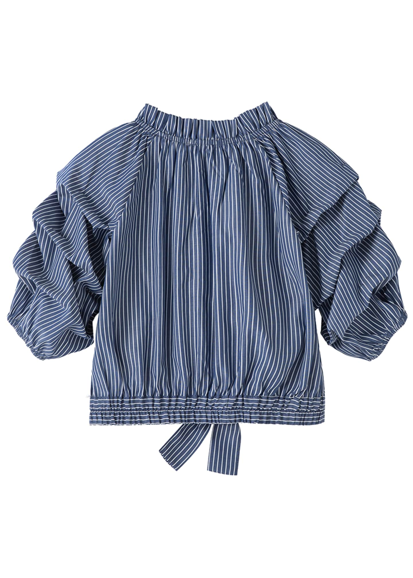 Image 2 of 3: Joyce Striped Gathered Top, Size 7-16
