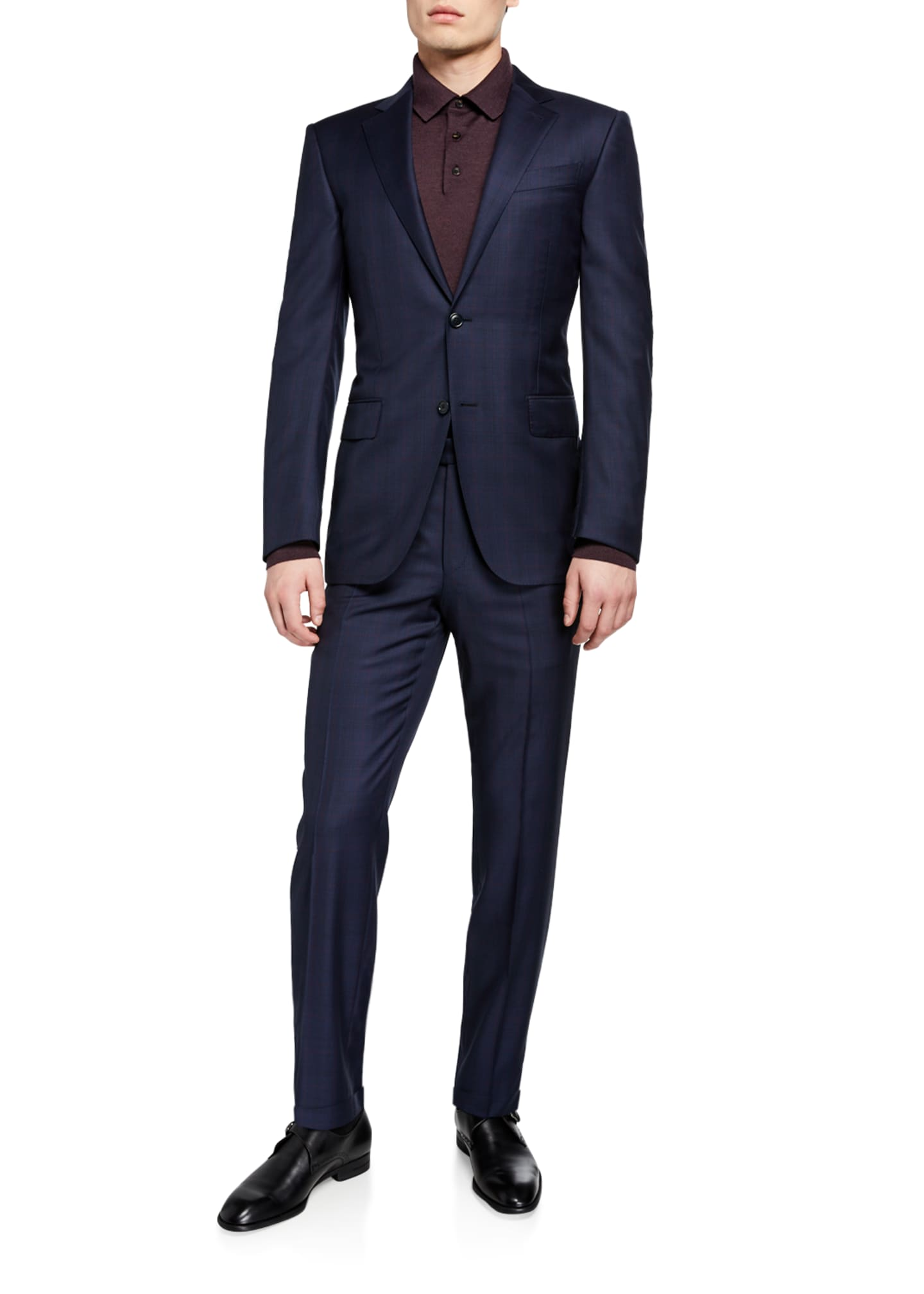 Image 2 of 4: Men's Two-Piece Plaid Regular-Fit Wool Suit