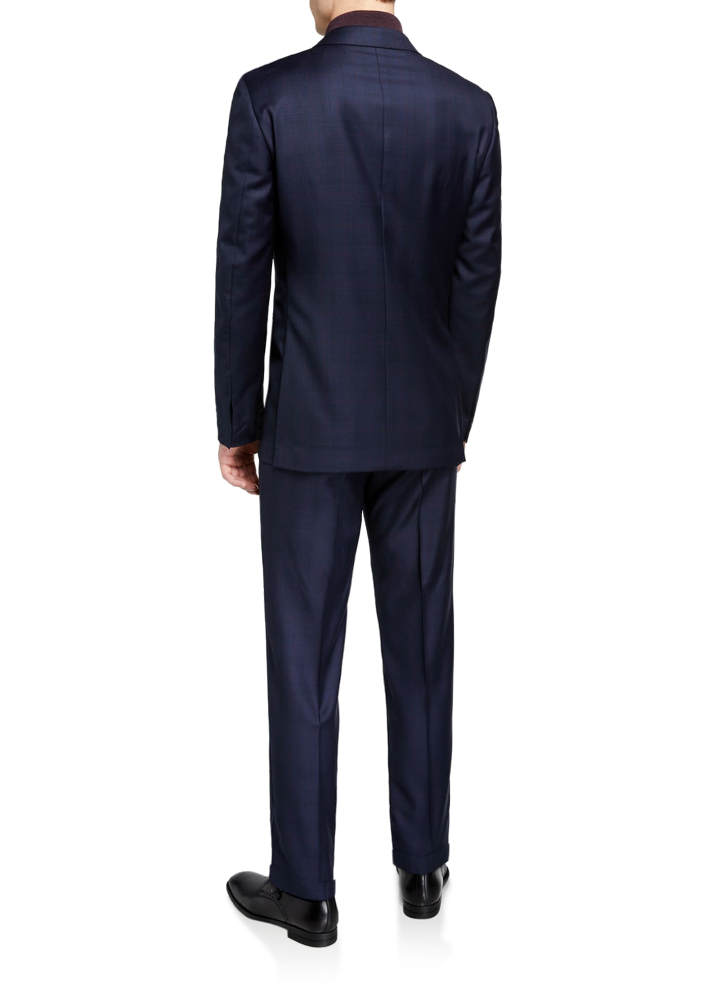 Image 3 of 4: Men's Two-Piece Plaid Regular-Fit Wool Suit