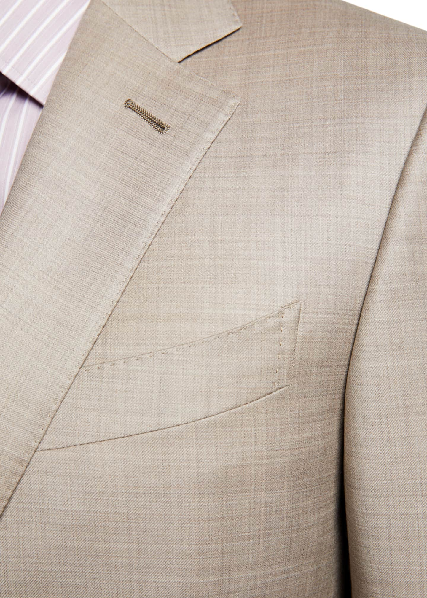 Image 4 of 4: Men's Regular-Fit Heathered Two-Piece Suit, Beige