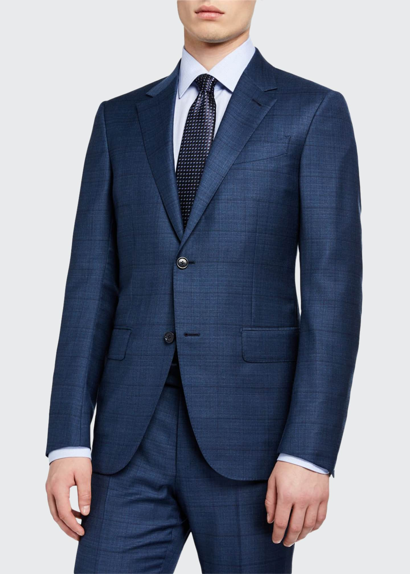 Ermenegildo Zegna Men's Windowpane Wool/Silk Two-Piece Suit, Blue