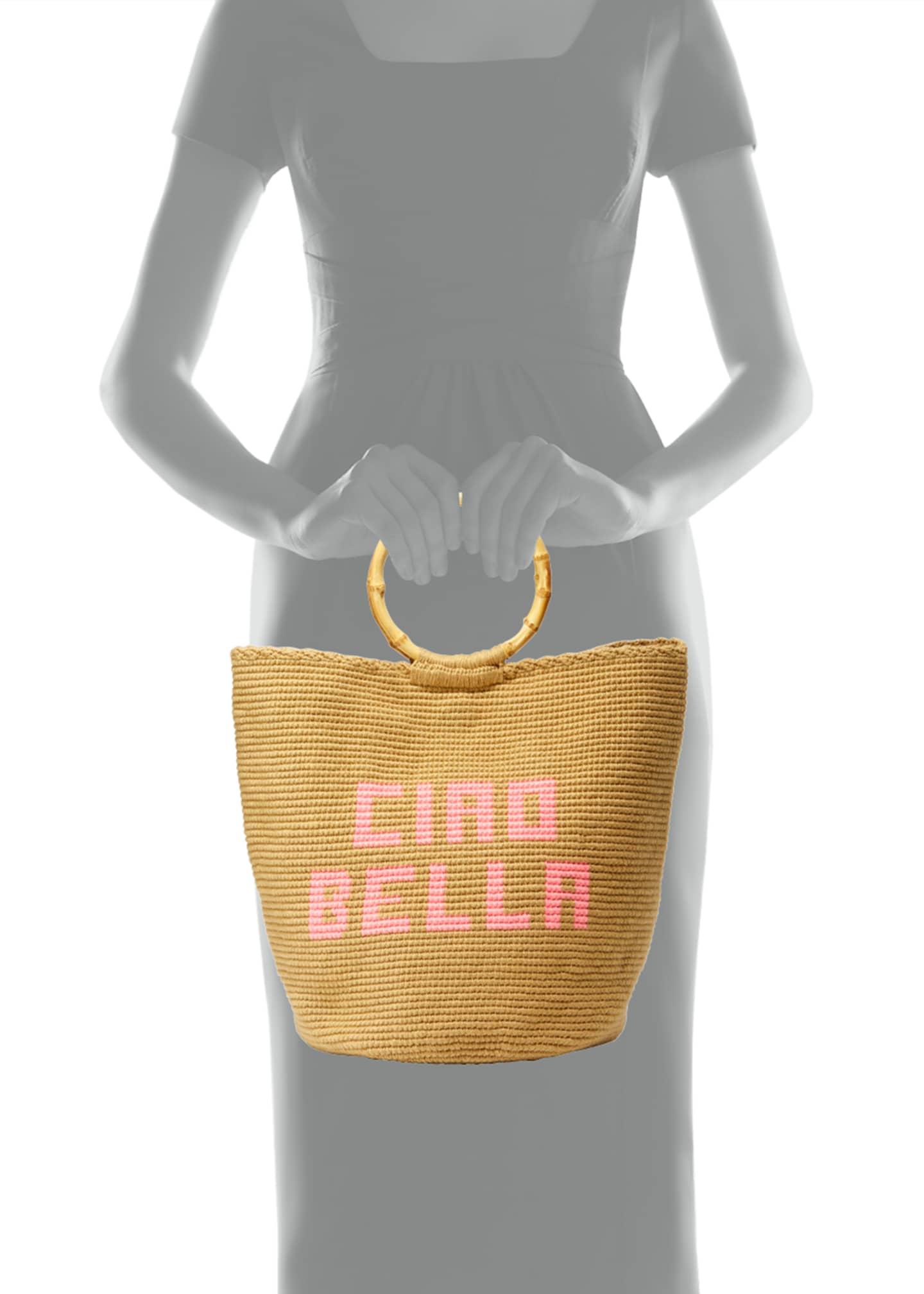 Image 3 of 3: Ciao Bella Woven Ring-Handle Tote Bag