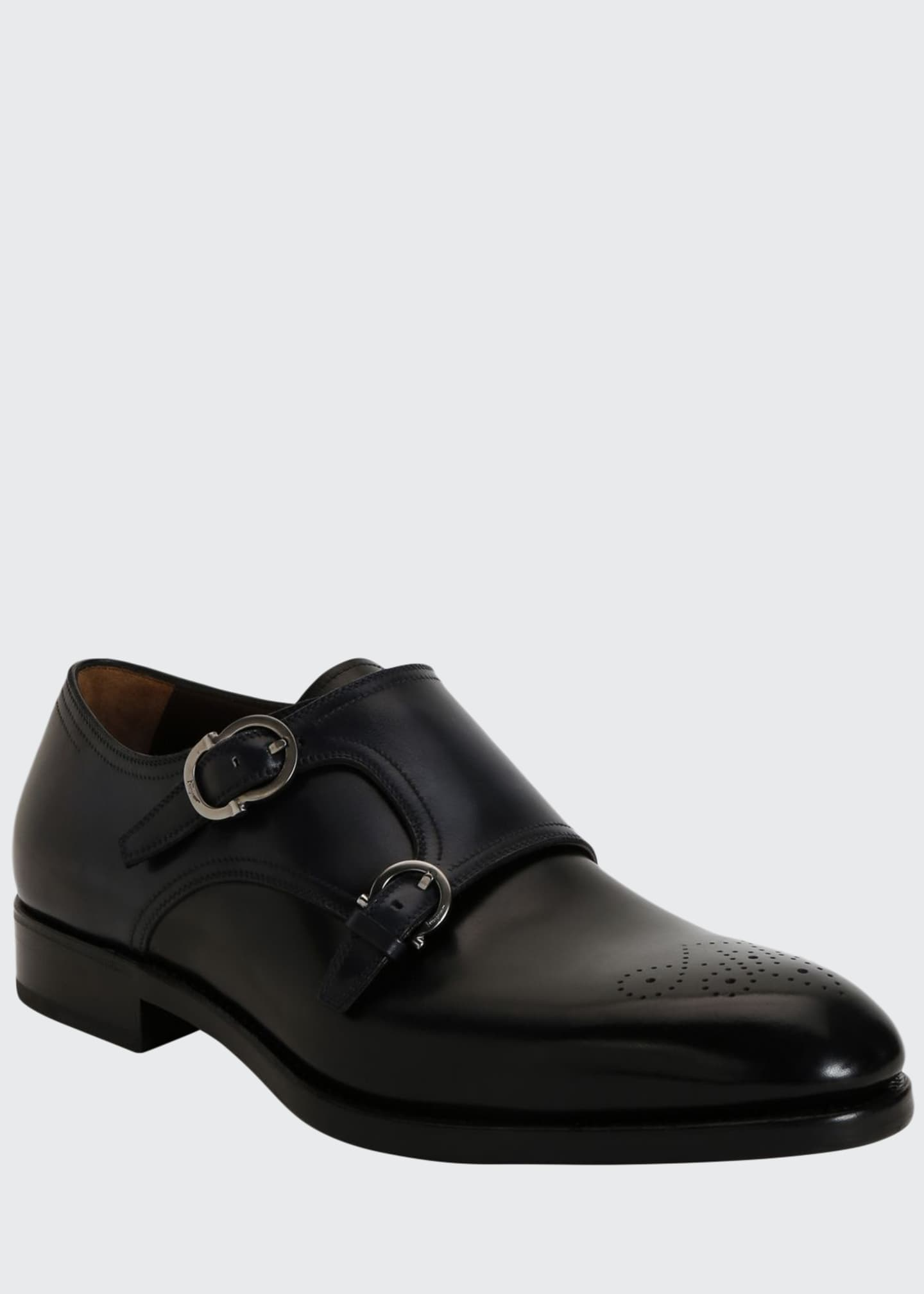 Salvatore Ferragamo Men's Brighton Tramezza Double-Monk Leather