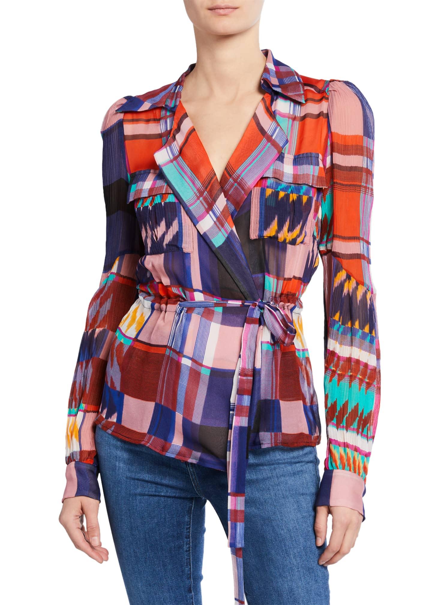 Diane von Furstenberg Joanna Check Long-Sleeve Wrap Blouse