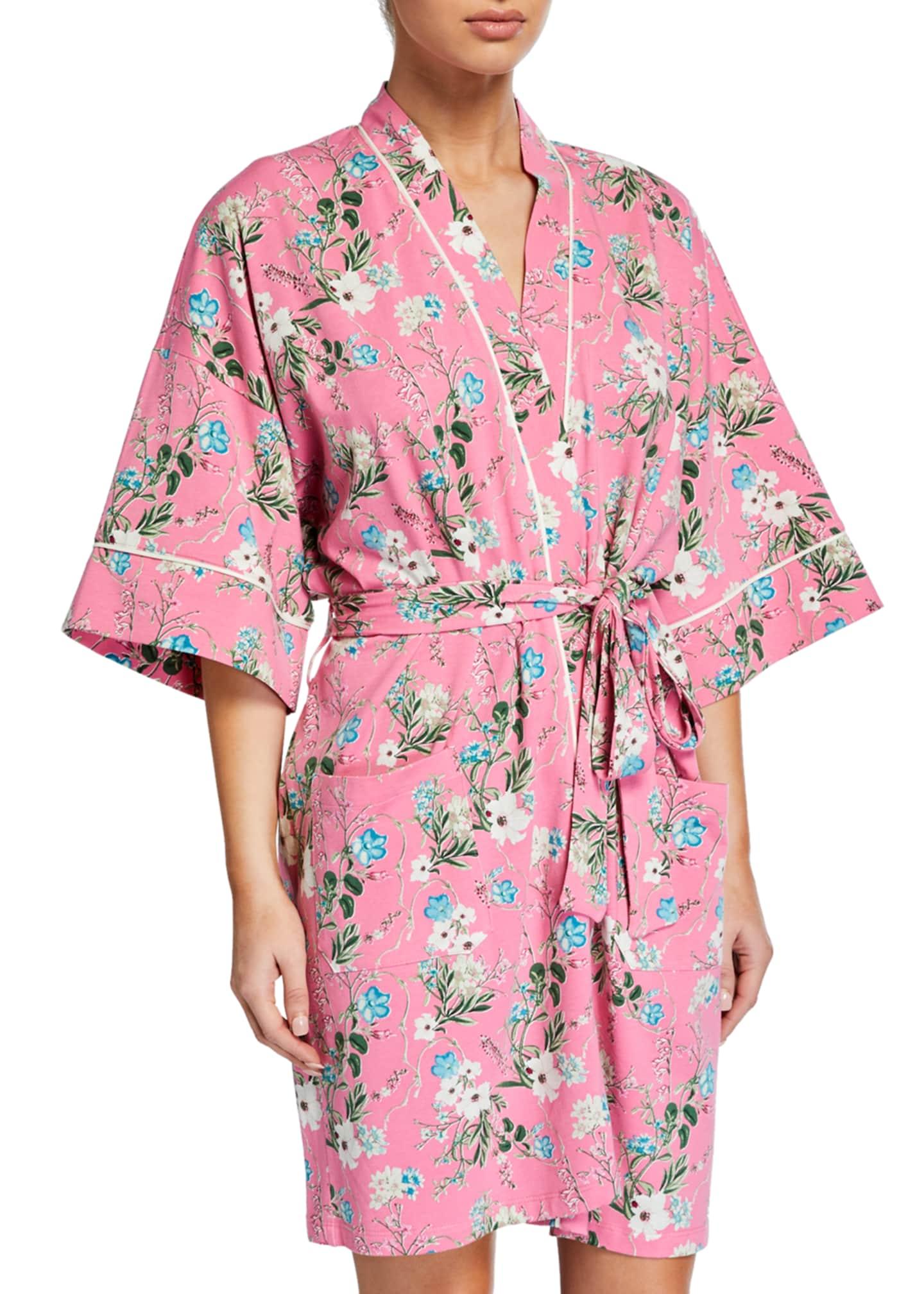 BedHead Pajamas Ladybug Floral Short Kimono Robe
