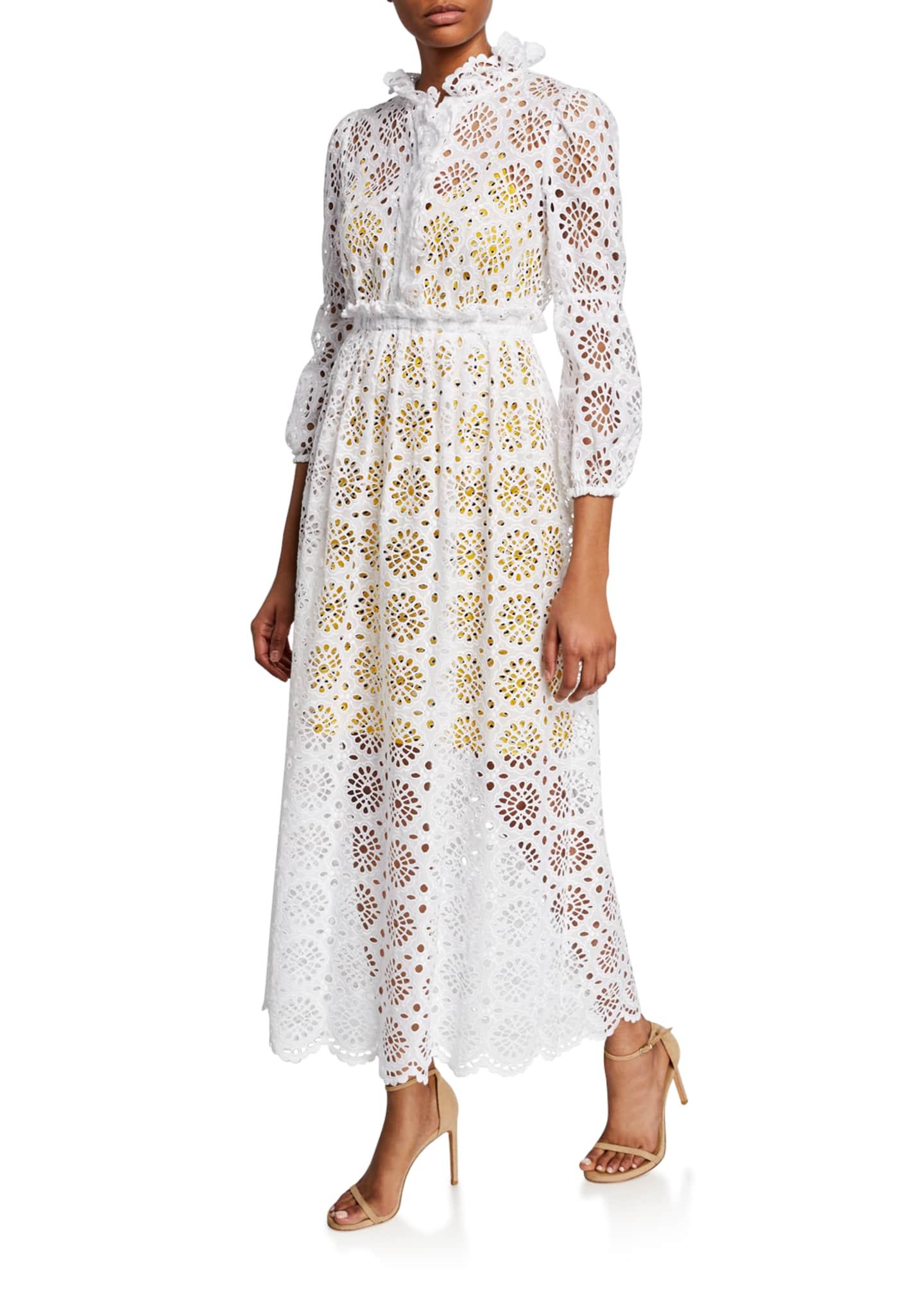 Diane von Furstenberg Leandra Eyelet Button-Front Maxi Dress
