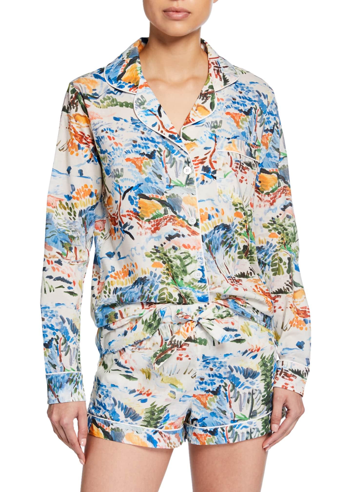 Desmond & Dempsey Watercolor Landscape Shorty Pajama Set