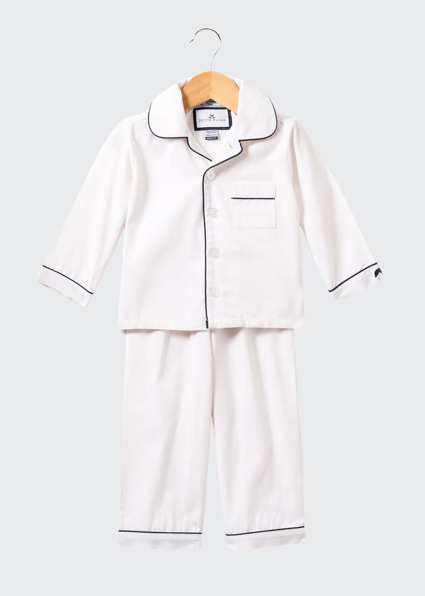 Image 1 of 1: Solid Pajama Set w/ Contrast Piping, Size 6M-14