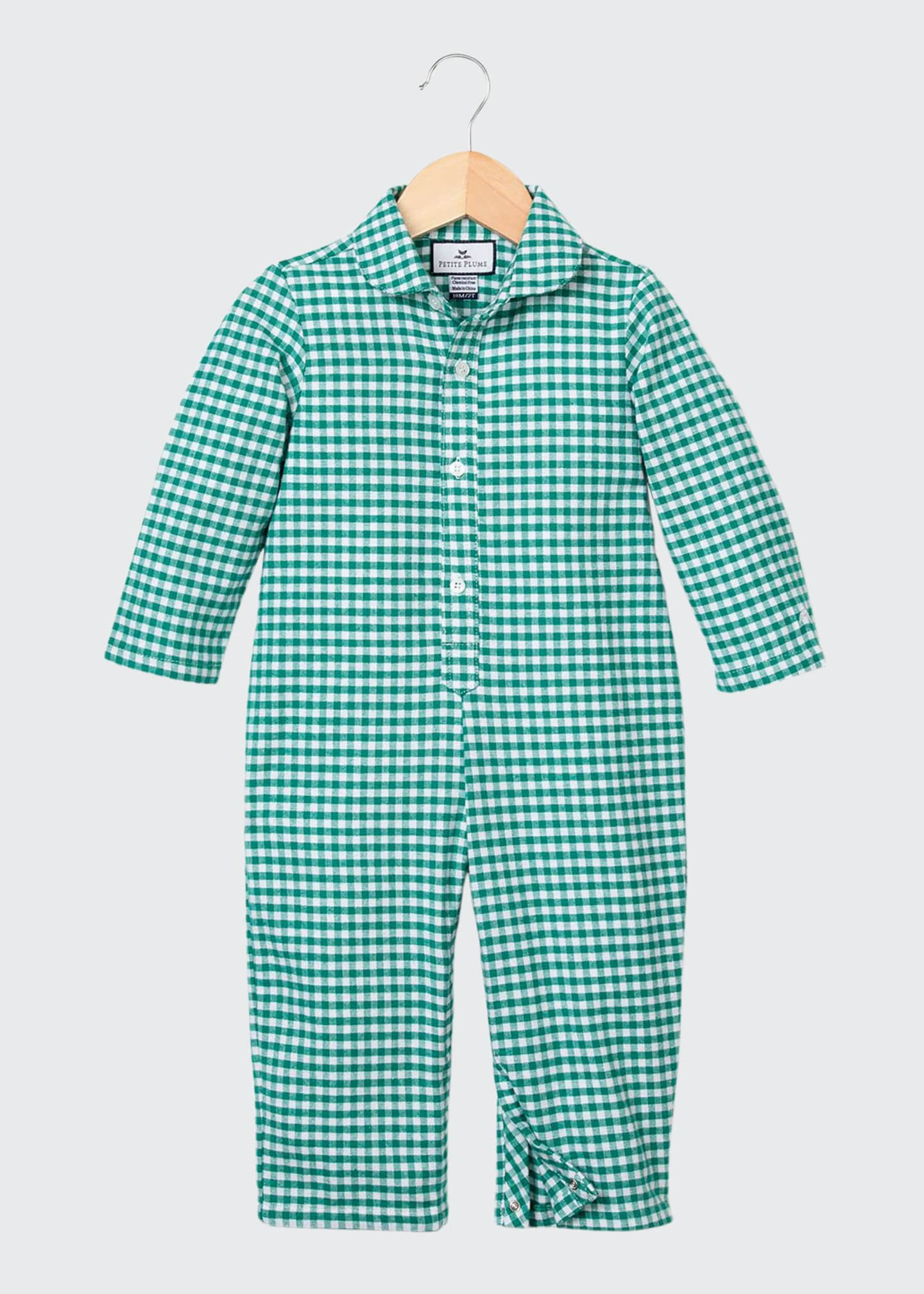 Image 1 of 2: Gingham Flannel Coverall, Size 0-24 Months