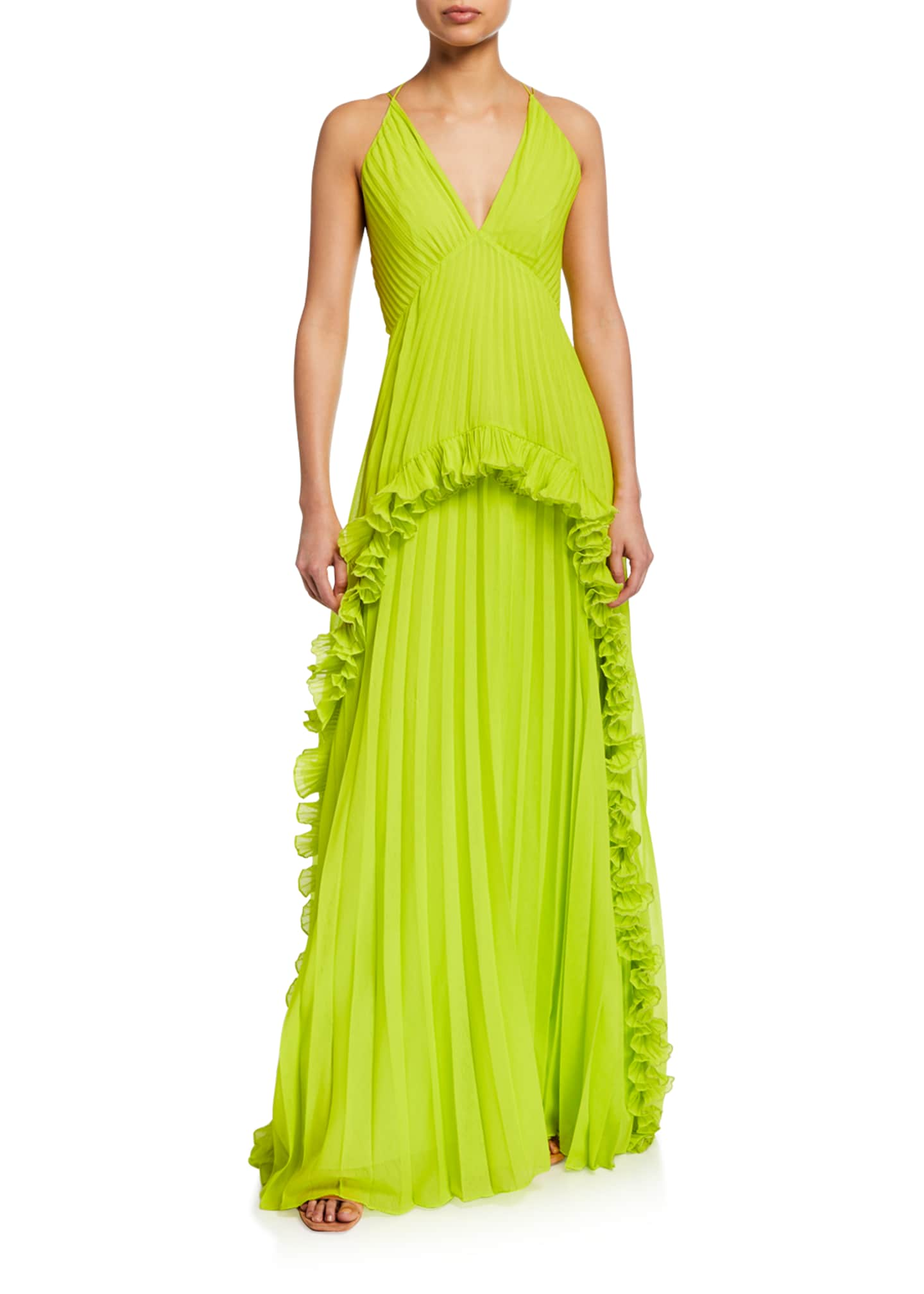 Halston Sleeveless Halter V-Neck Gown with Ruffled Pleat