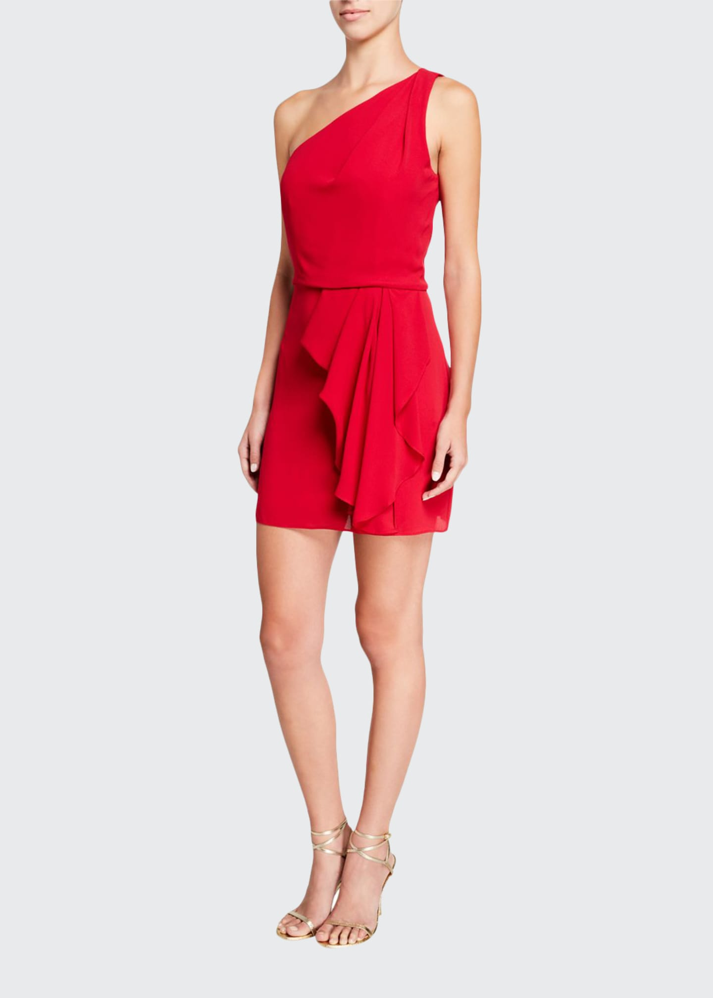 Halston One-Shoulder Drape-Front Dress