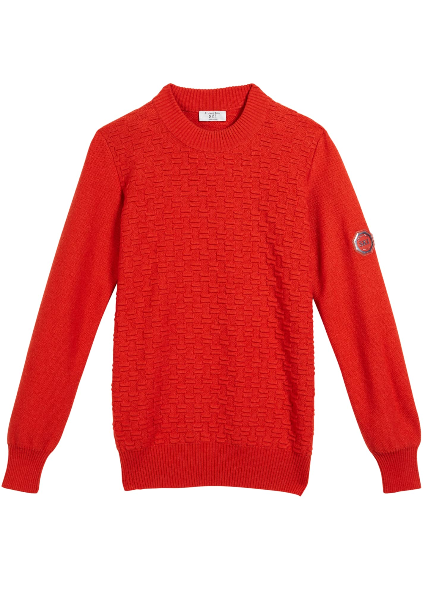 Image 1 of 1: Boys' Textured Knit Cashmere Sweater, Size 12