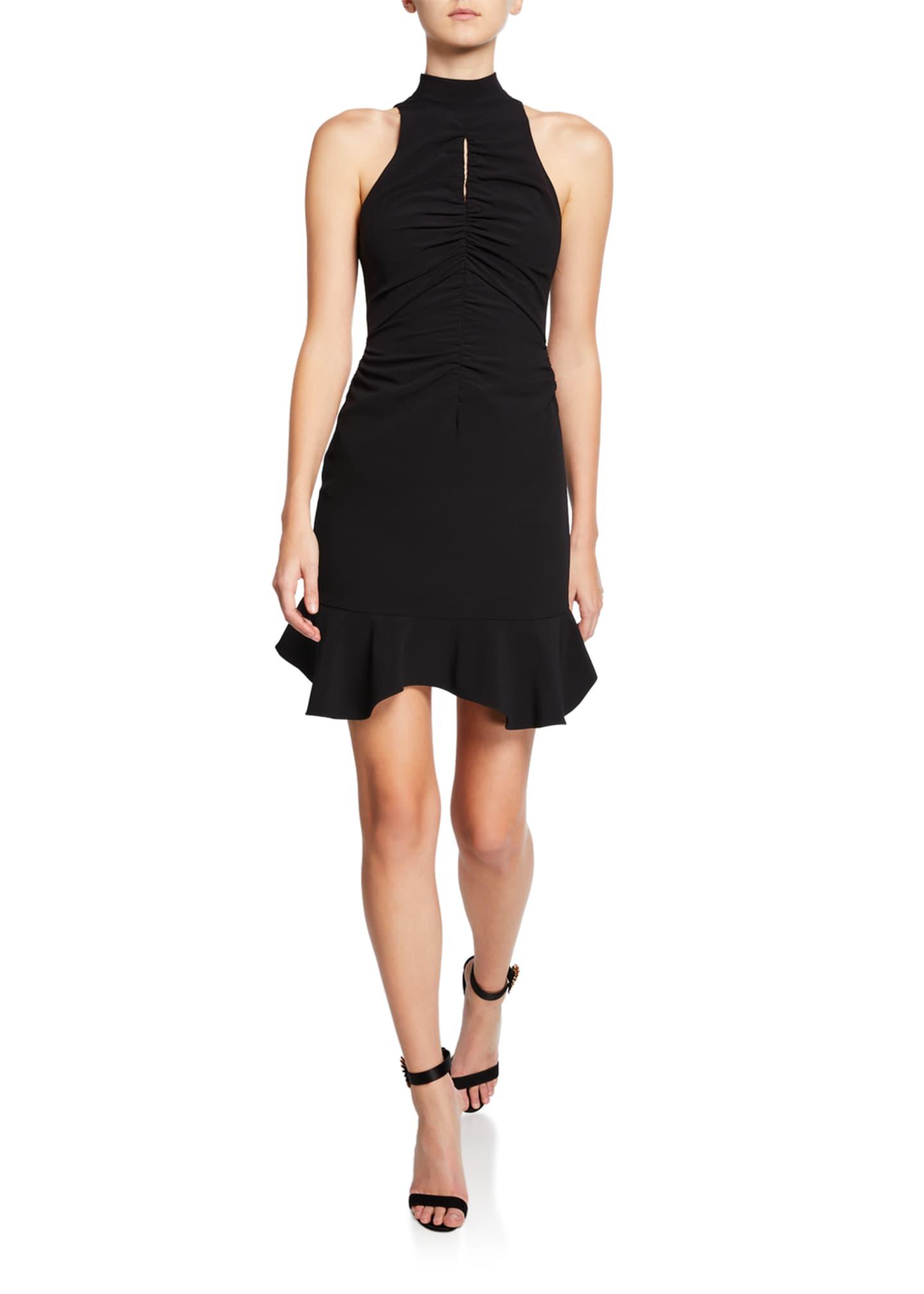 Halston Sleeveless Mock-Neck Dress with Ruched Keyhole