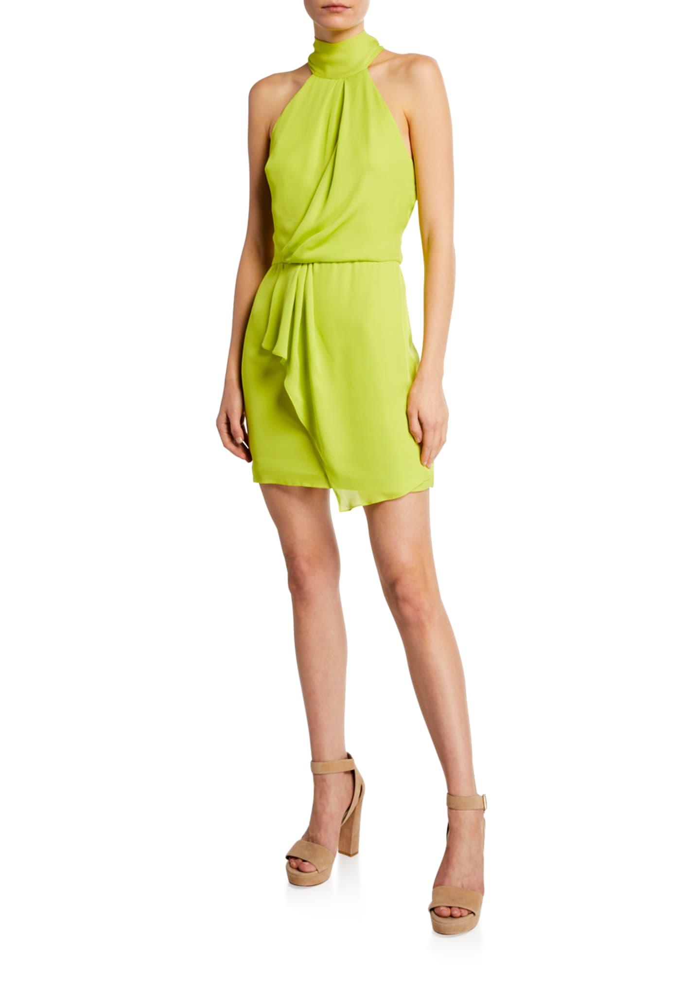 Halston F2 Sleeveless Mock-Neck Dress with Drape Front